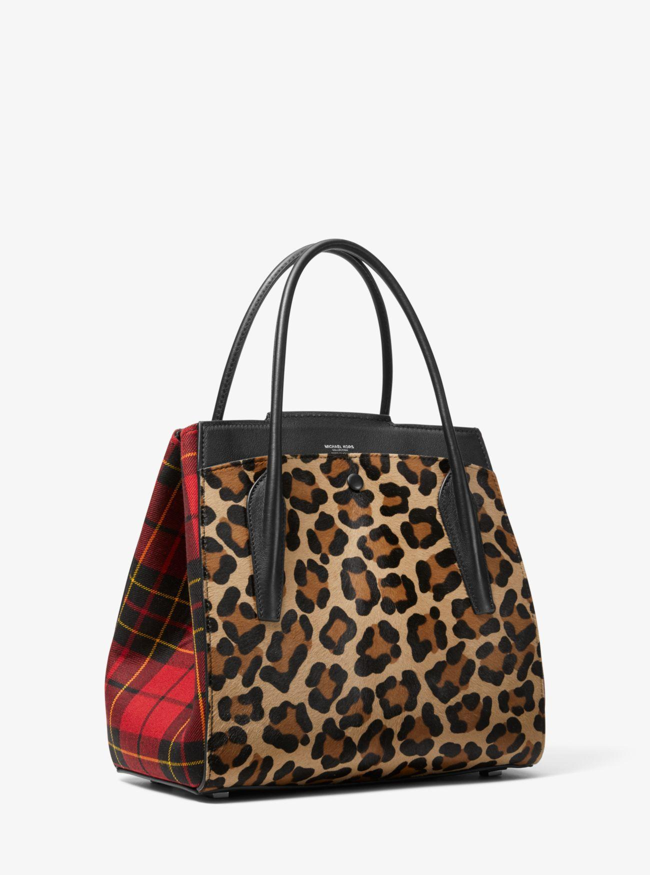 5c4a0b51bd33 Michael Kors Bancroft Large Leopard And Tartan Satchel in Red - Save 24% -  Lyst
