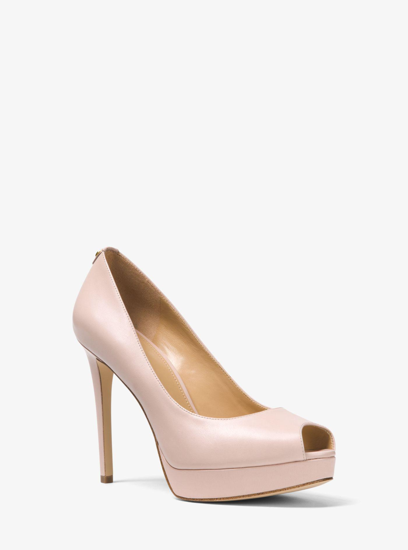 bc23ab8a484 Lyst - Michael Kors Erika Leather Peep-toe Pump in Pink