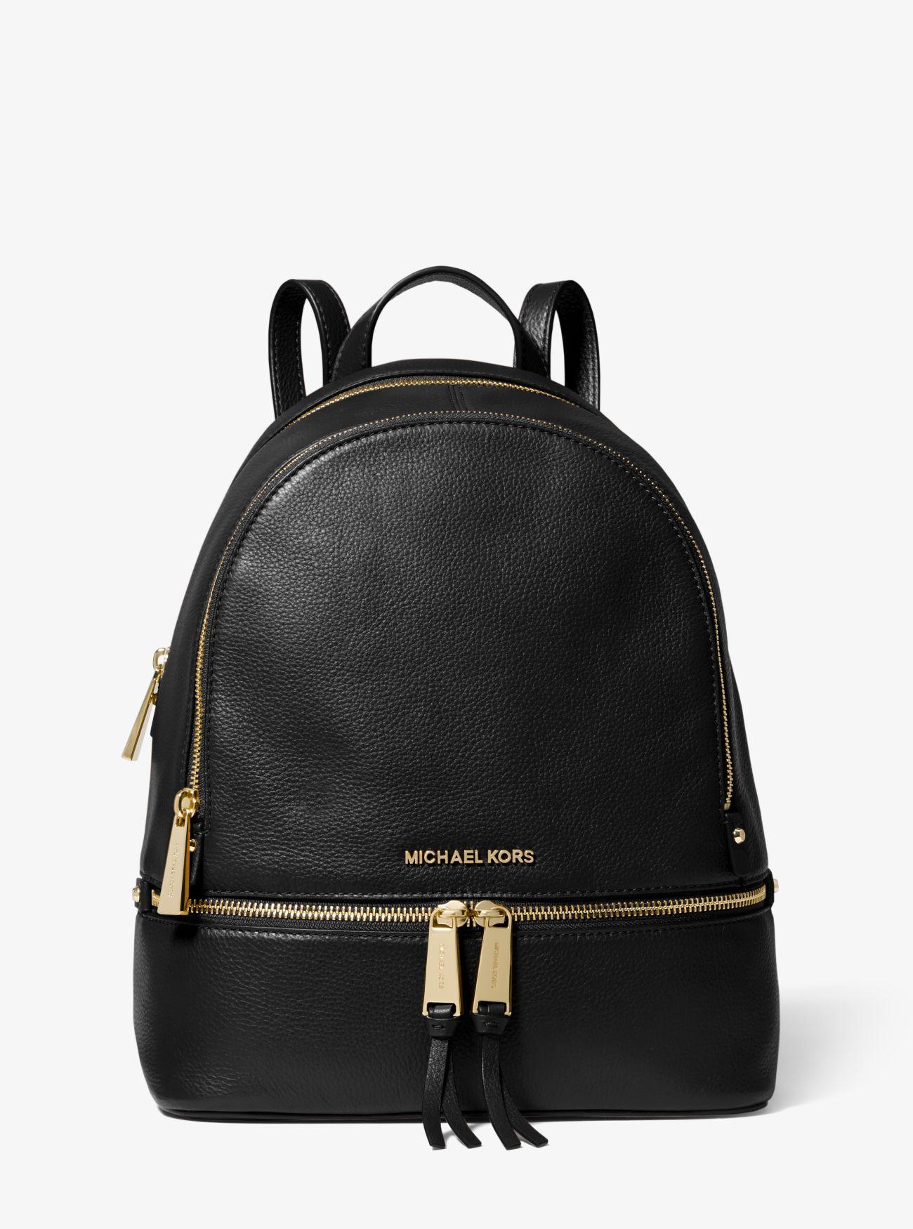 b637978ad355 Michael Kors - Black Rhea Medium Leather Backpack - Lyst. View fullscreen