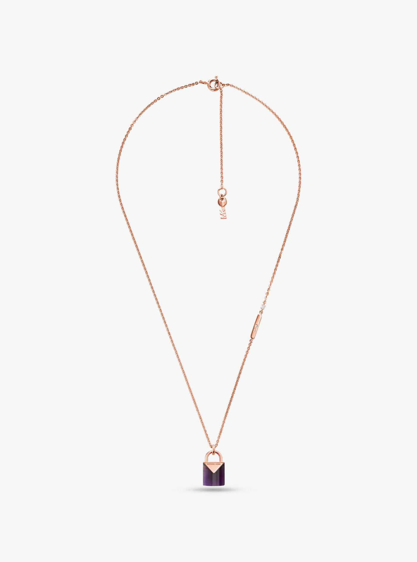 e549f68a80741 Lyst - Michael Kors 14k Rose Gold-plated Sterling Silver Lock ...