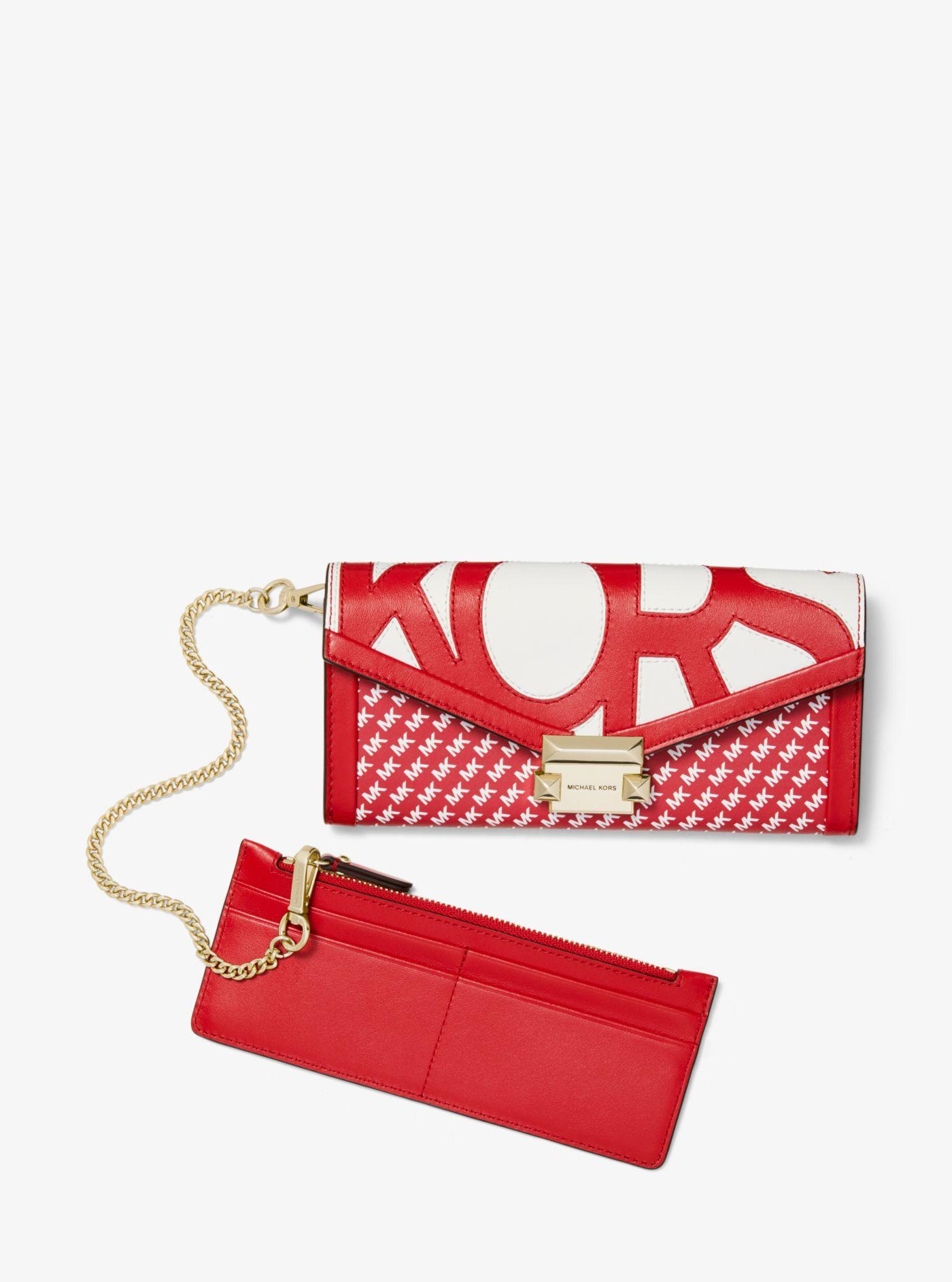 1b07927ef172 Michael Kors - Red Whitney Large Graphic Logo Chain Wallet - Lyst. View  fullscreen