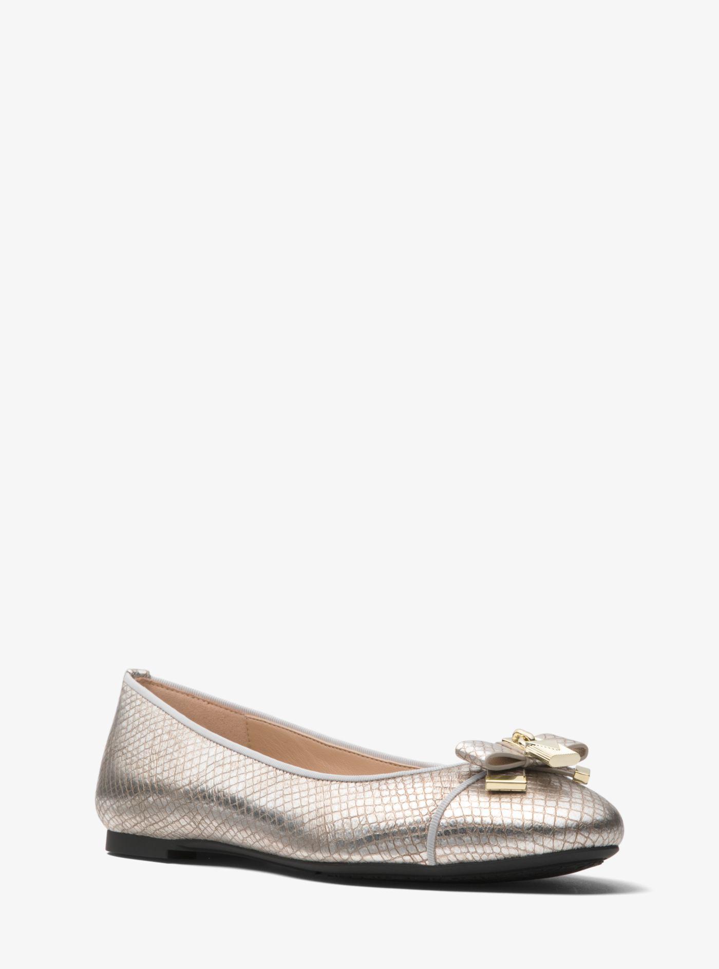 00cefb331406f Lyst - Michael Kors Alice Metallic Snakeskin Ballet Flat in Metallic