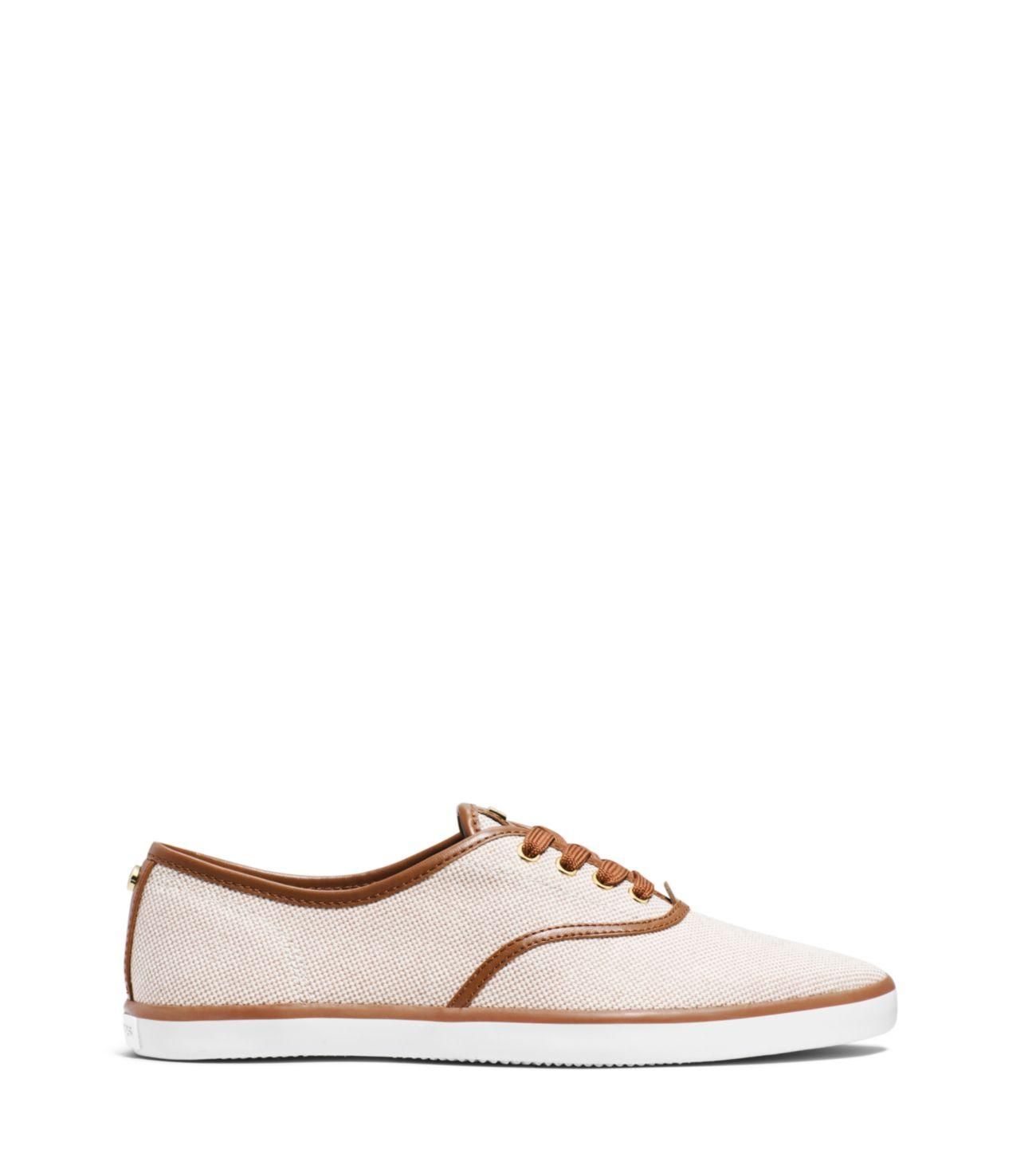 Michael Kors Brennan Canvas And Leather Sneaker in Ecru (Natural)