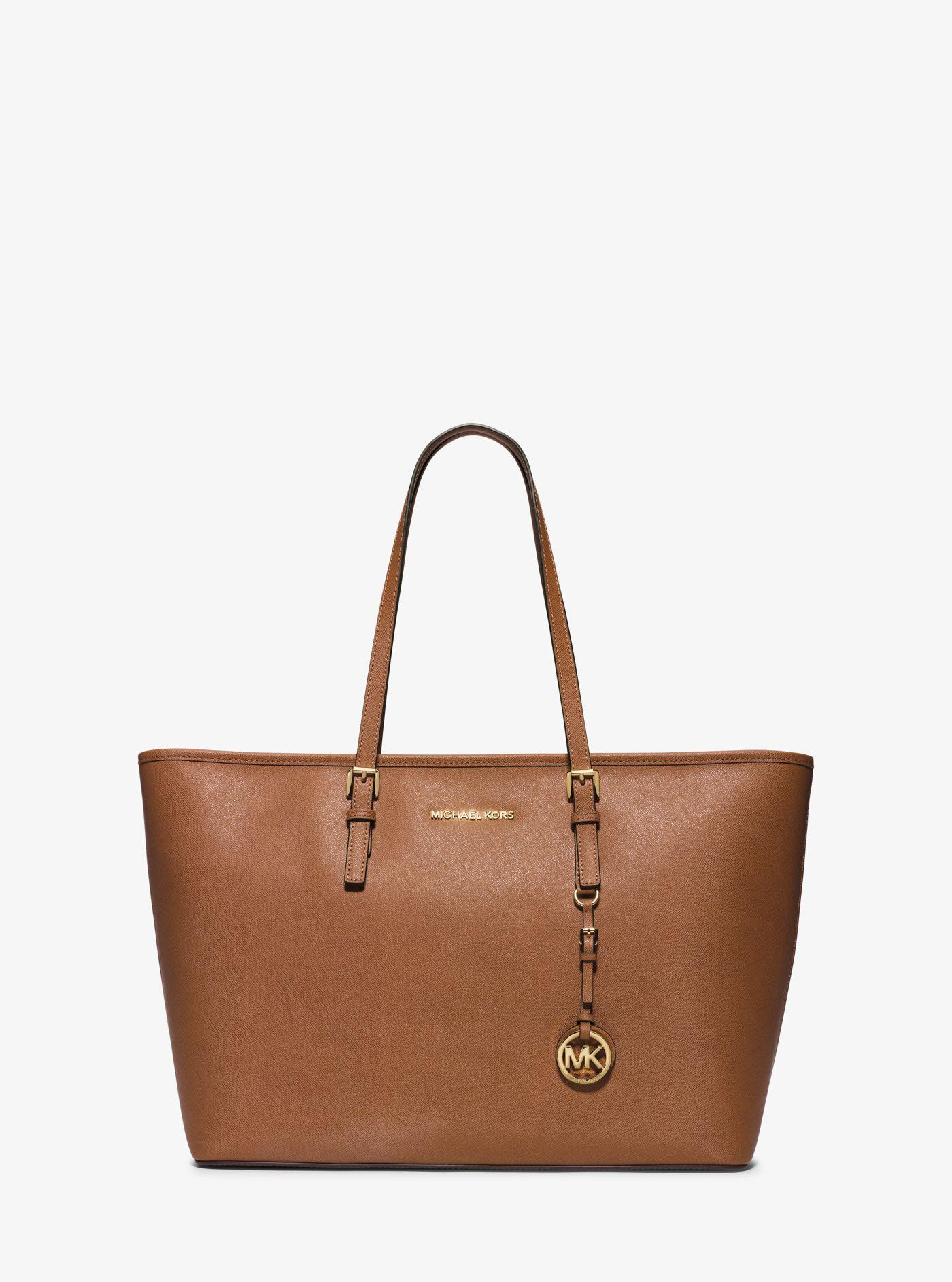f59b17e9291a Michael Kors Jet Set Travel Saffiano-Leather Tote in Brown - Lyst
