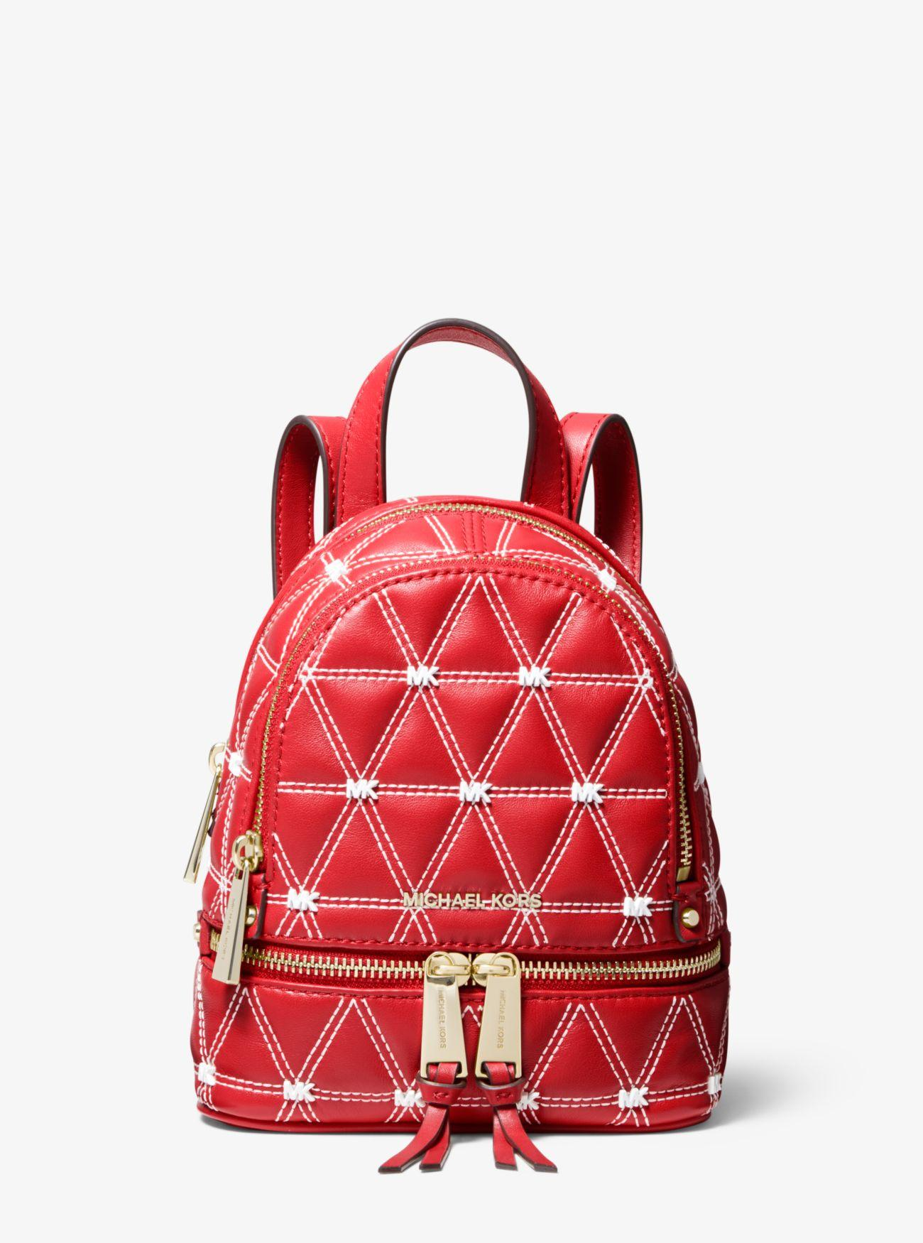 a91e162f611c Michael Kors - Red Rhea Mini Quilted Leather Backpack - Lyst. View  fullscreen