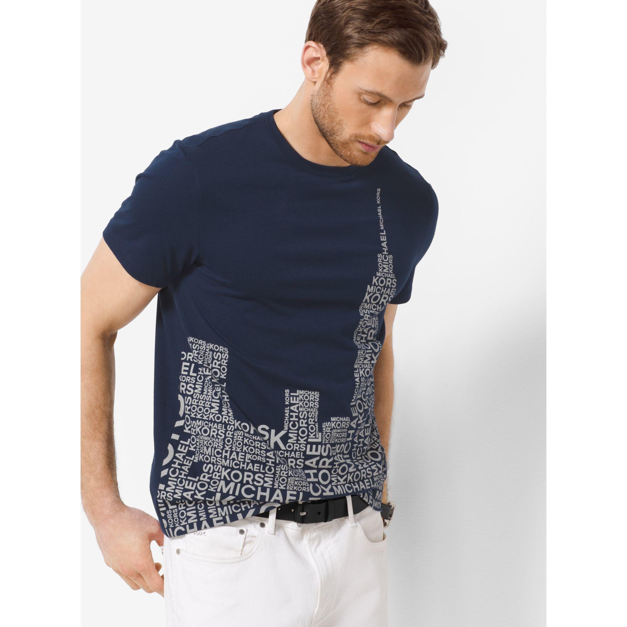 d37acbbb84b7 Lyst - Michael Kors Skyline-print Jersey T-shirt in Blue for Men