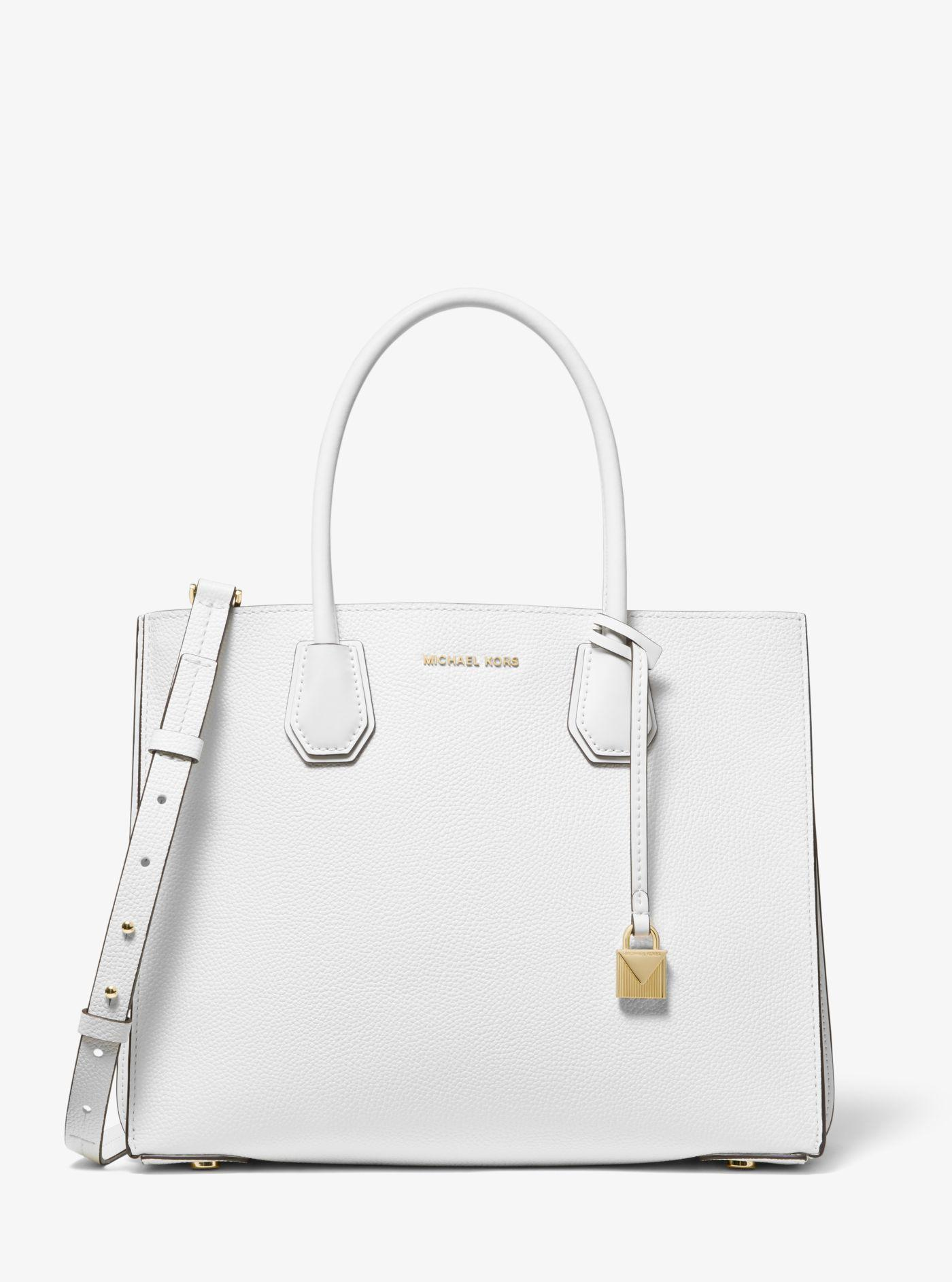 070f39f6af3a0 Michael Kors - White Mercer Large Pebbled Leather Accordion Tote - Lyst.  View fullscreen