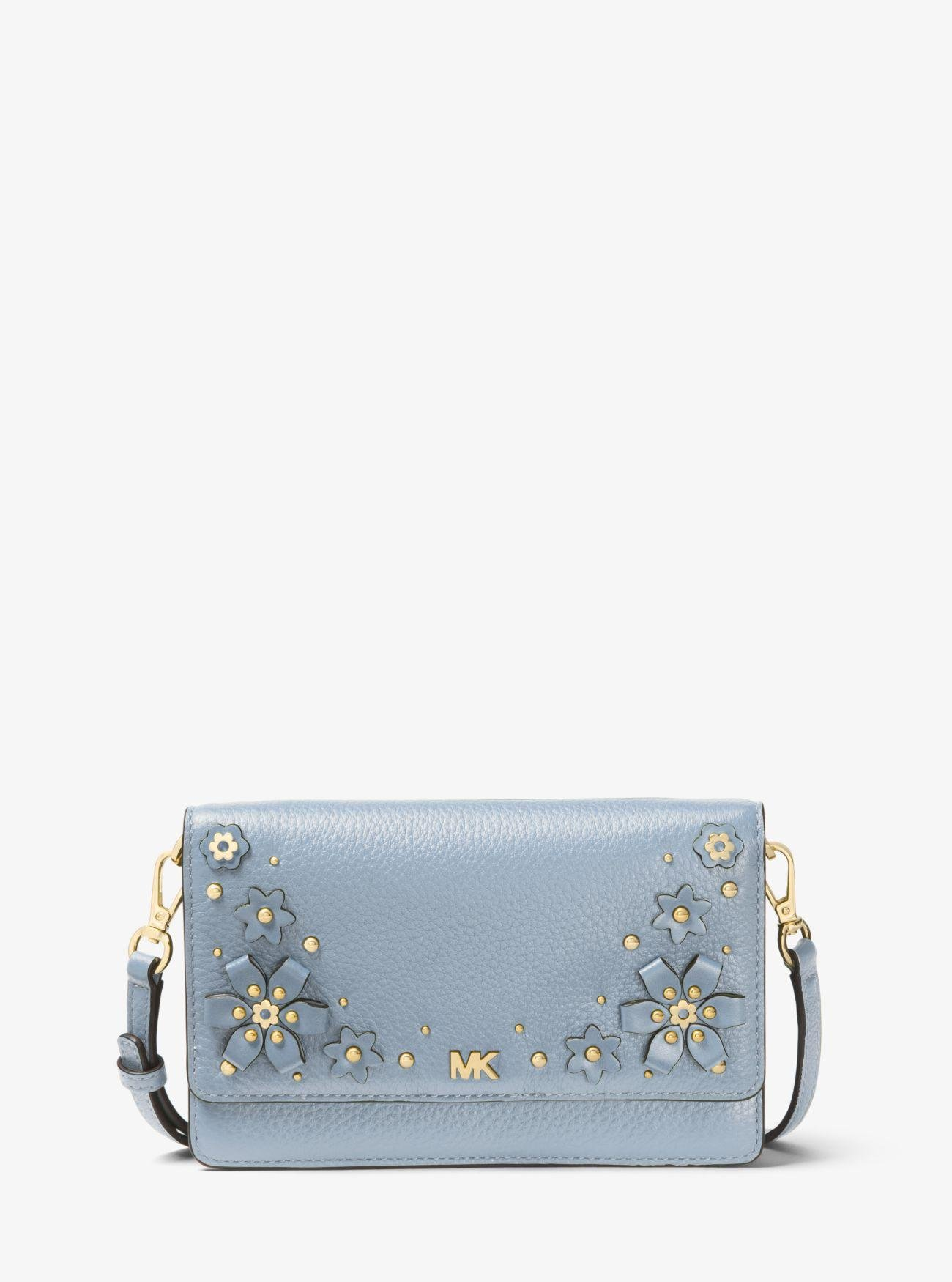 475624ff1 Michael Kors Floral Embellished Pebbled Leather Convertible ...