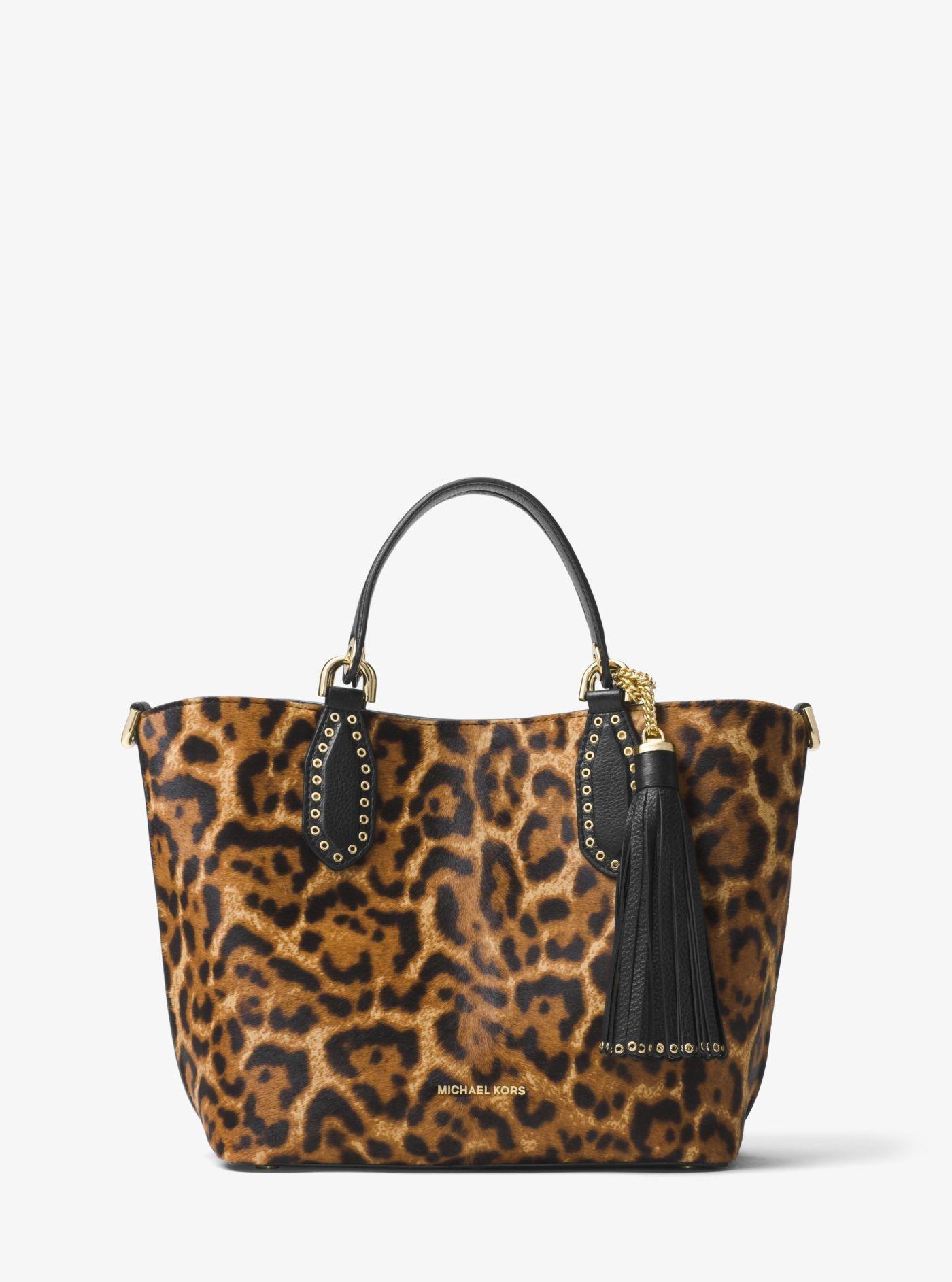 8e86a522ee69 Lyst - Michael Kors Brooklyn Leopard Calf Hair Tote