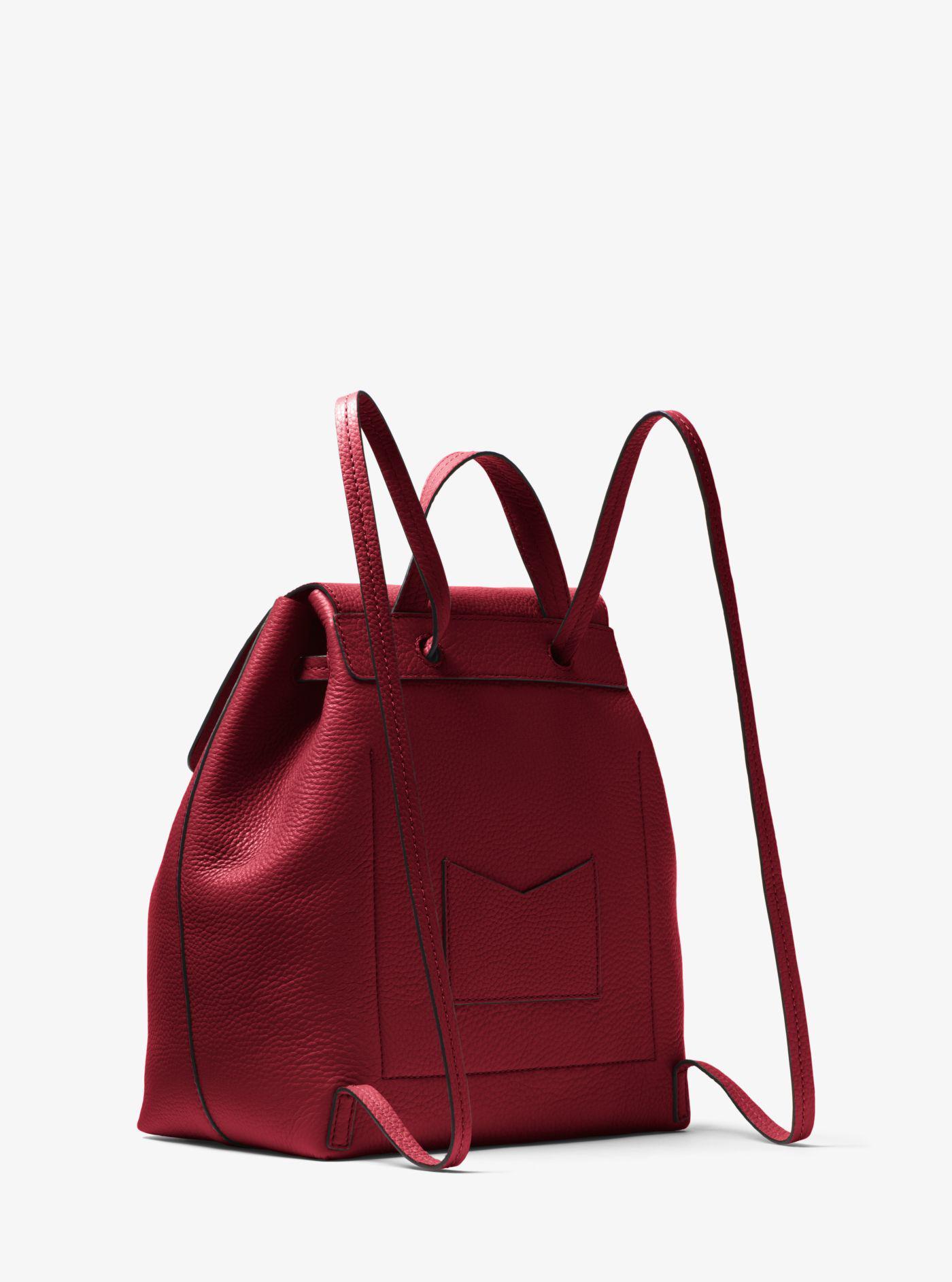 885eaecb8efc05 Michael Kors Junie Medium Pebbled Leather Backpack in Red - Lyst