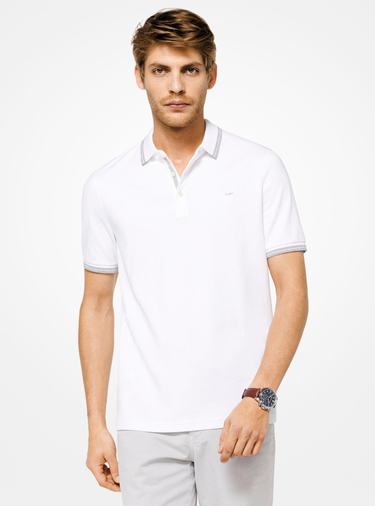 c8c1b5a7 Michael Kors Greenwich Cotton Polo Shirt in White for Men - Lyst