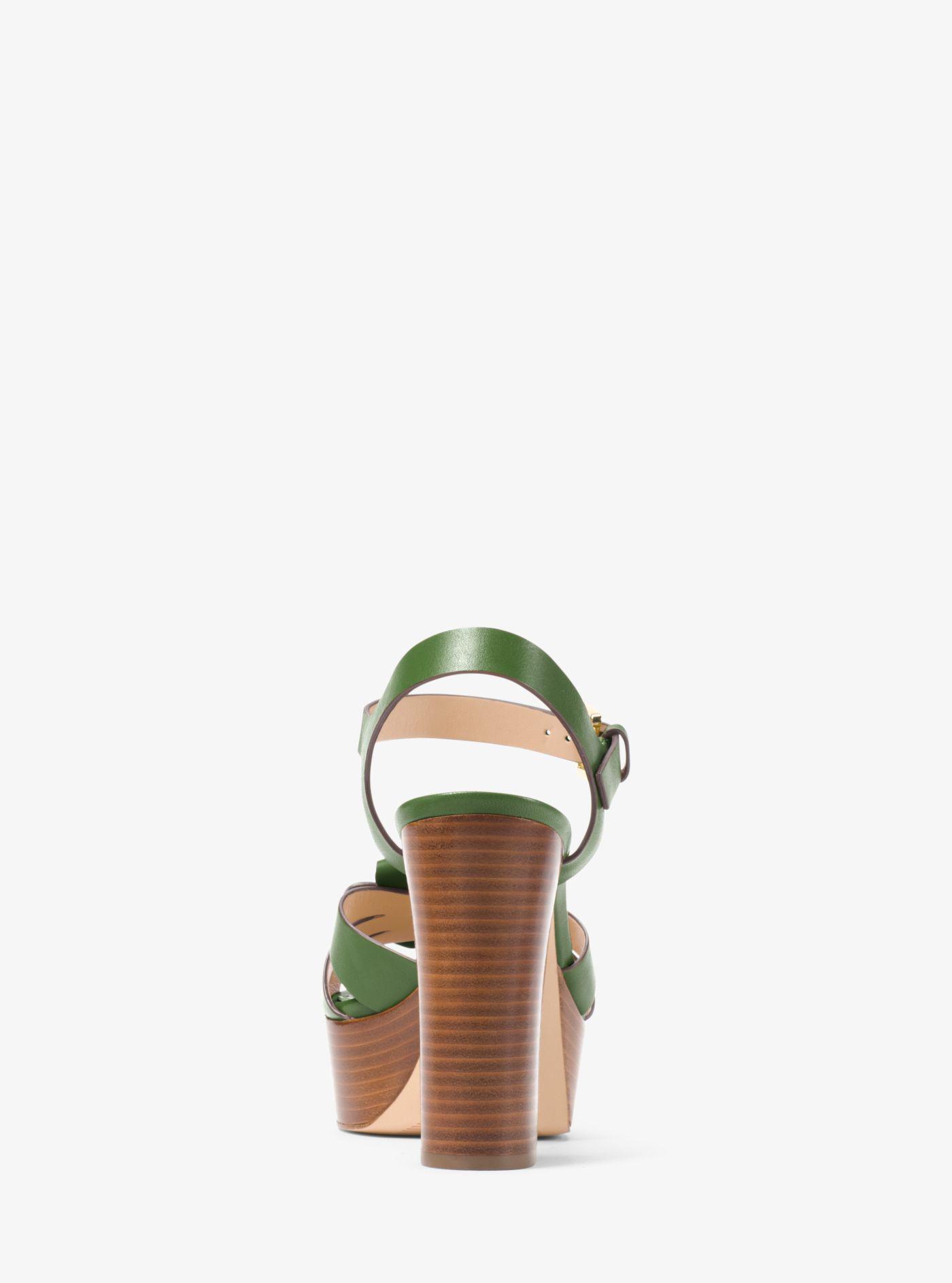 13dde25c0a Michael Kors Tara Floral Embellished Leather Platform Sandal in ...