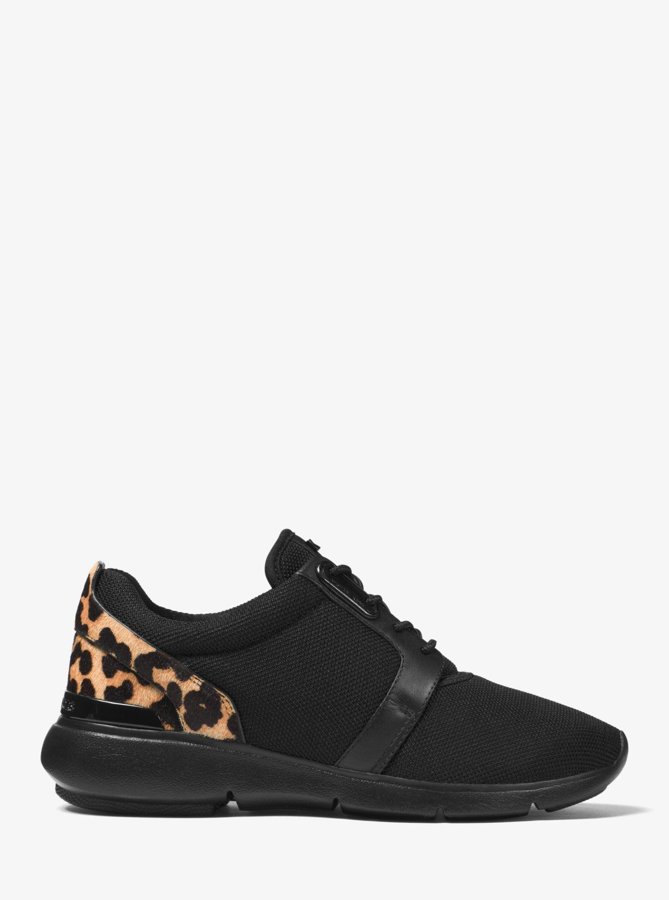 Michael Kors Rubber Amanda Leopard Calf Hair And Mesh Sneaker in Black/Natural (Black)