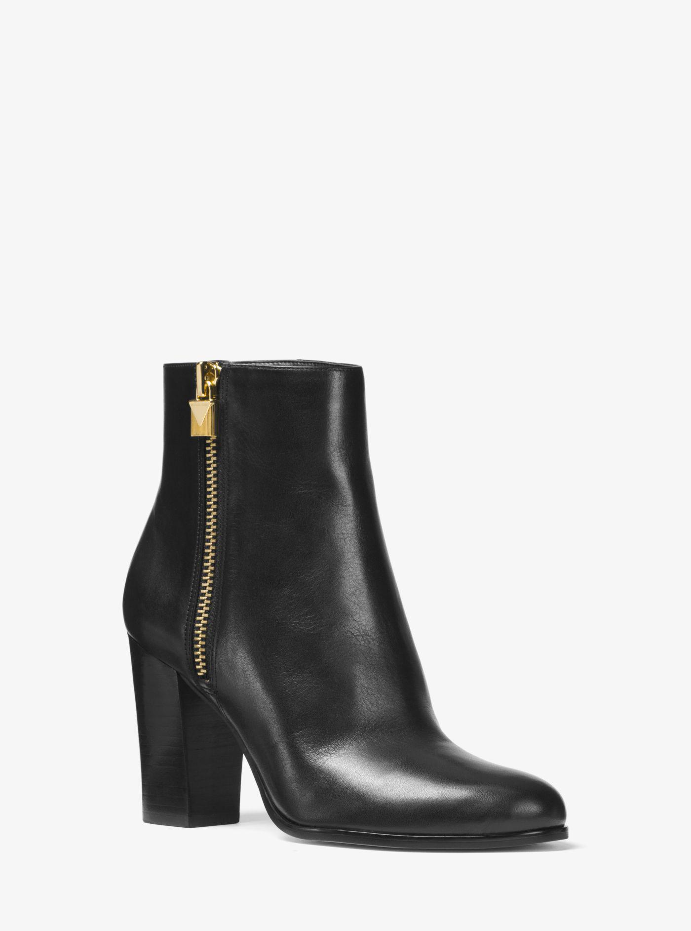 Michael Kors. Women's Black Margaret Leather Ankle Boot
