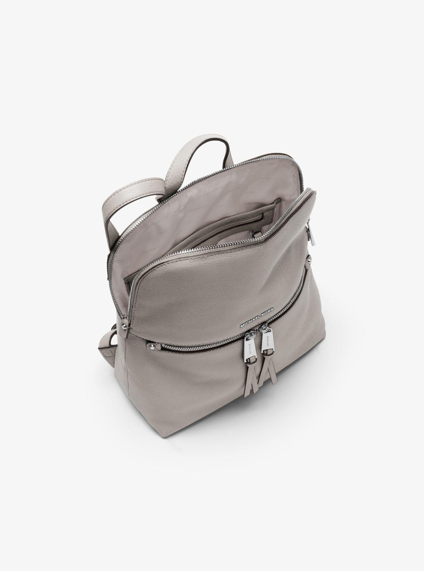 32b56fb04c73 Michael Kors Rhea Medium Slim Leather Backpack in Gray - Lyst