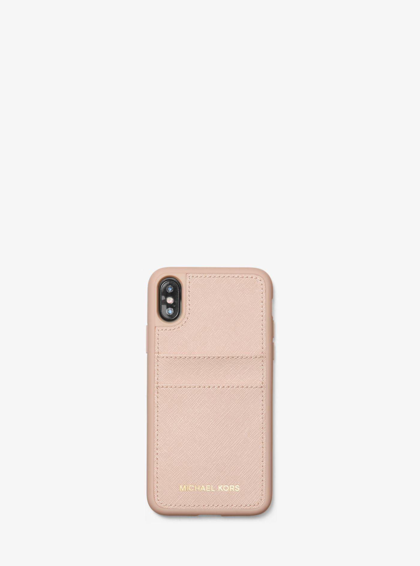 best website 91fa9 523bb Michael Kors Pink Saffiano Leather Case For Iphone X