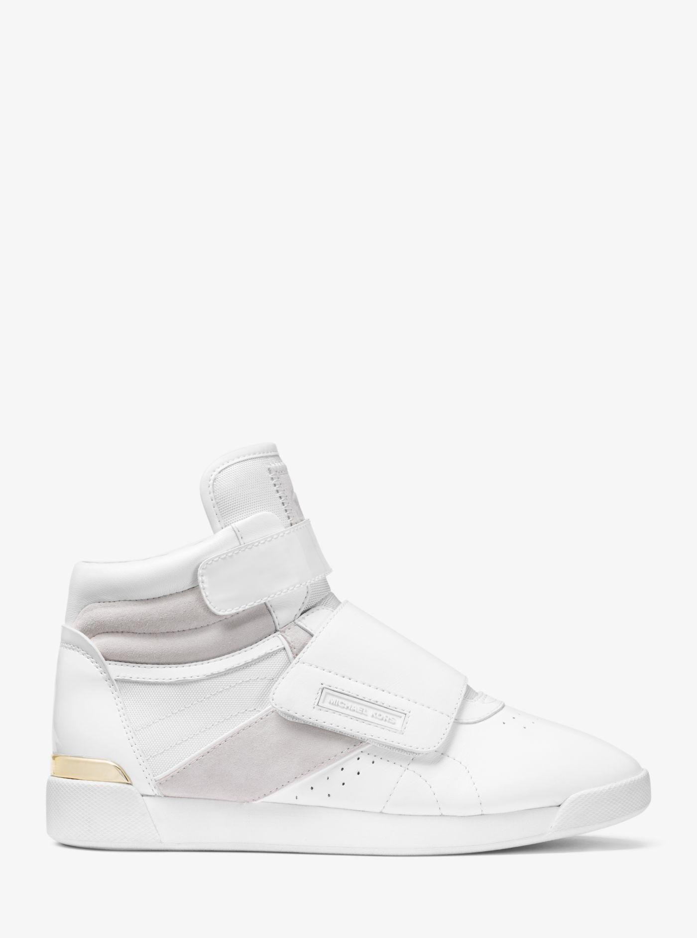 0256c10cfe5 Michael Kors White Addie Leather And Canvas High-top Trainer