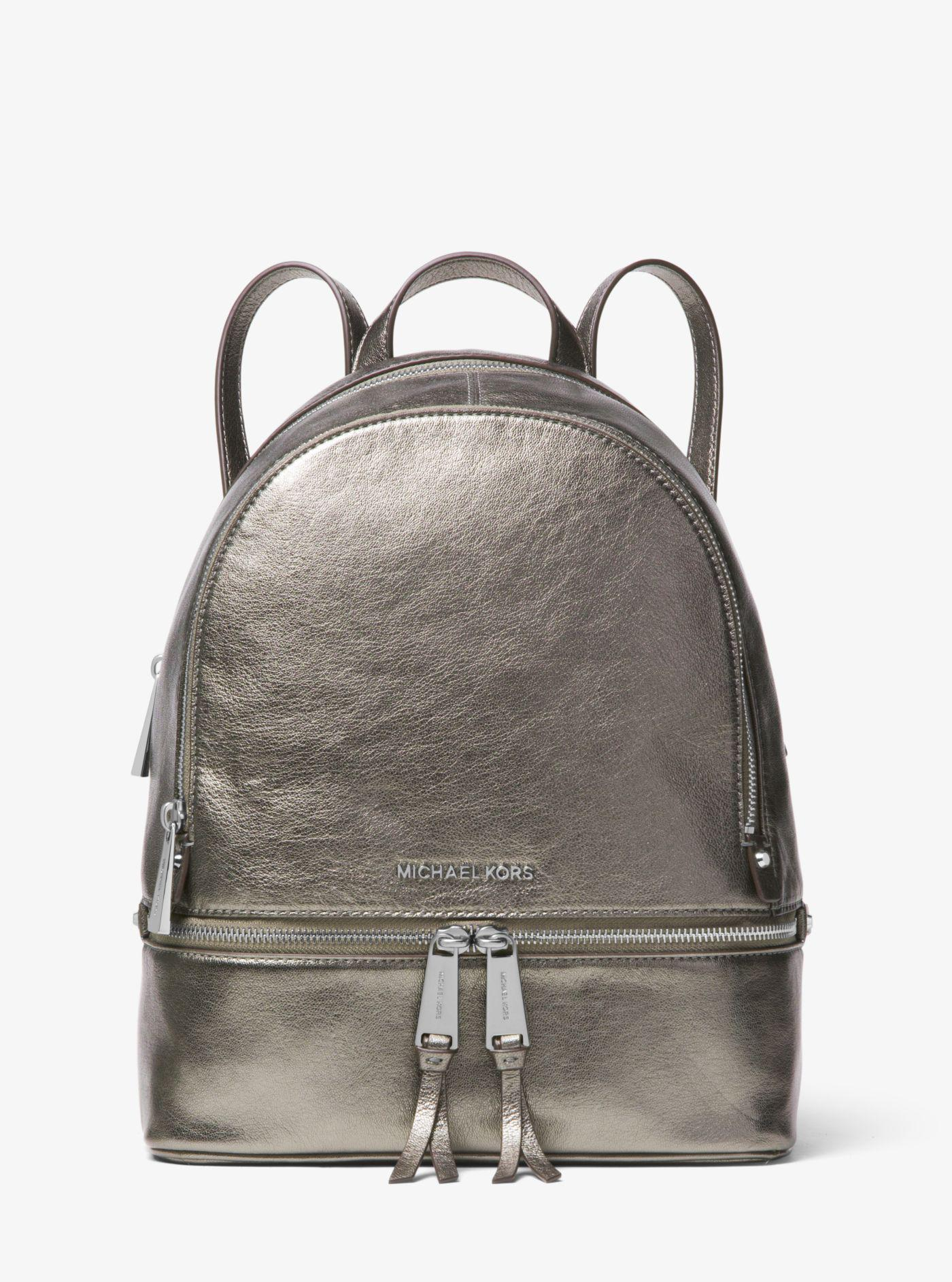a4d9d307bfd16b Rhea Medium Metallic Quilted Leather Backpack- Fenix Toulouse Handball