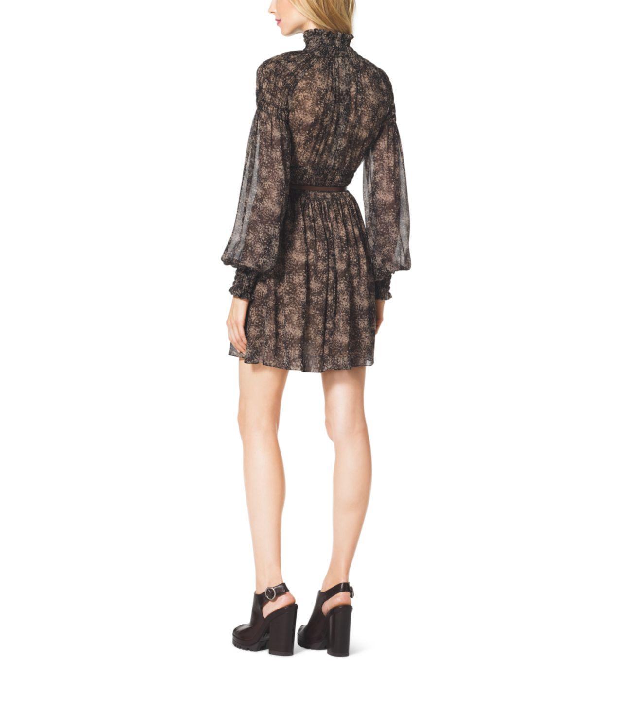 Michael Kors Bohemian-print Smocked Silk Chiffon Dress in Taupe (Brown)