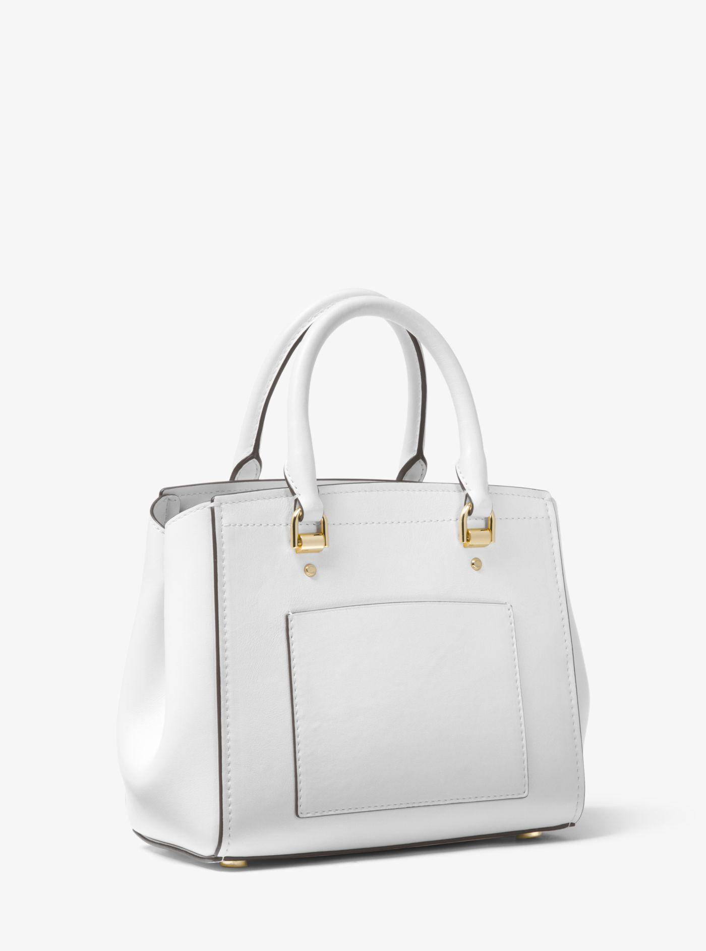 ece36a46fe2c Lyst - Michael Kors Benning Medium Leather Satchel in White