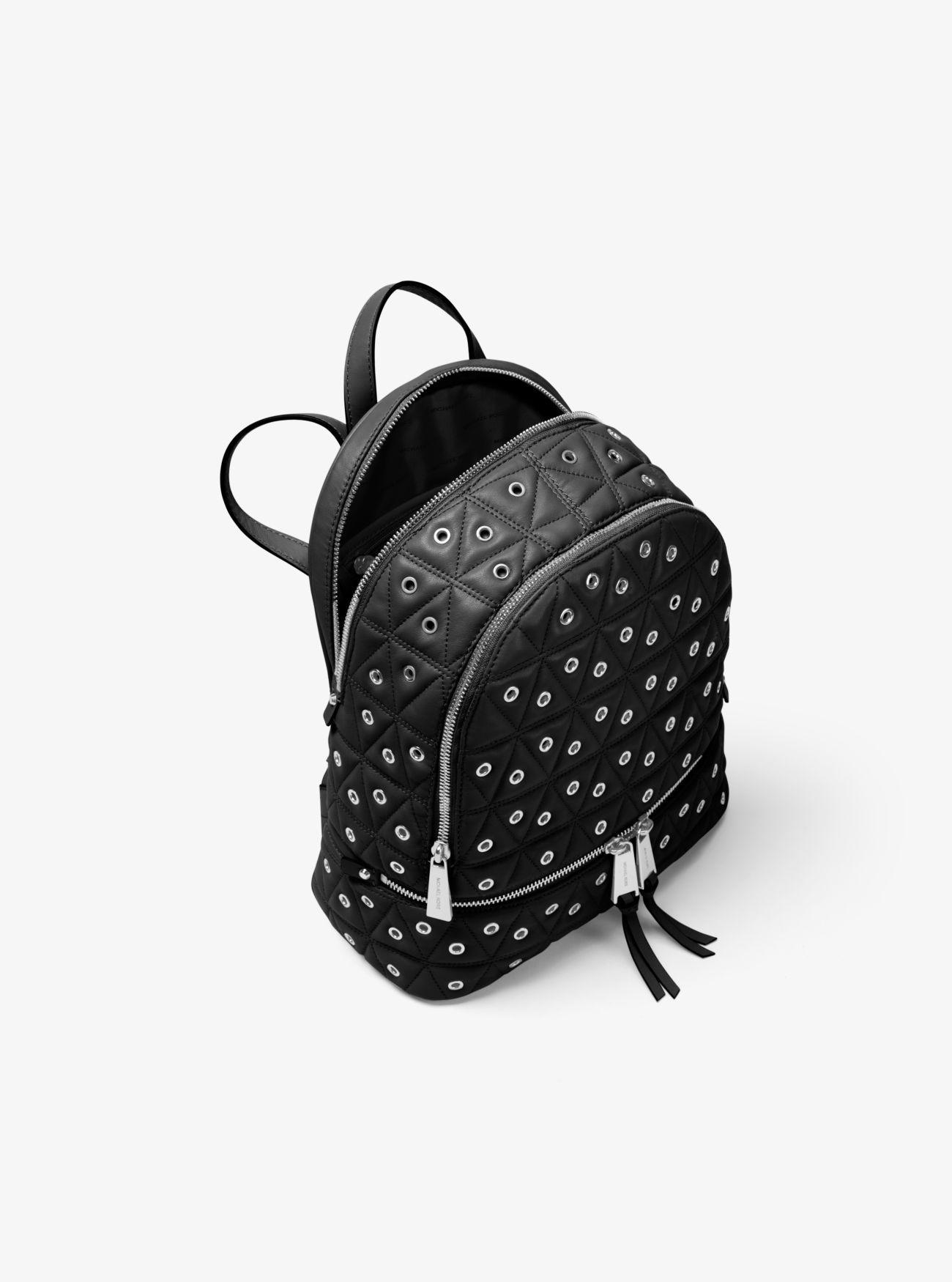 Michael Kors Rhea Medium Grommeted Leather Backpack in Black