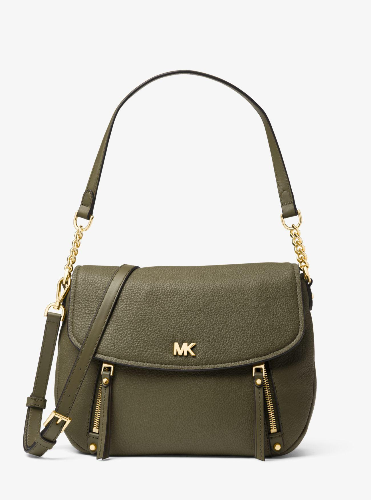 1fe723a6e253 MICHAEL Michael Kors. Women s Green Evie Medium Pebbled Leather Shoulder Bag
