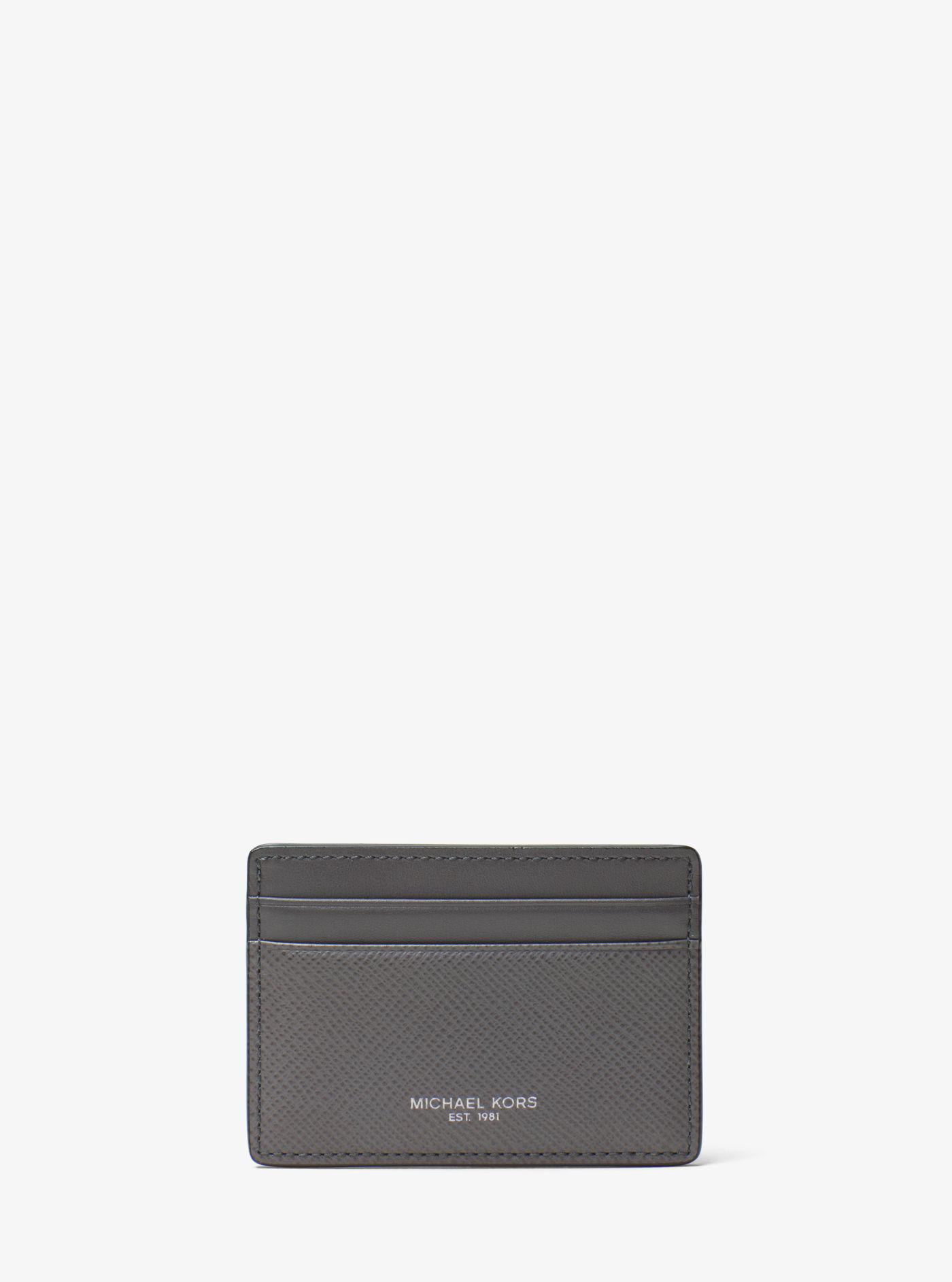 775275c5a862 Lyst - Michael Kors Harrison Leather Card Case in Black for Men ...