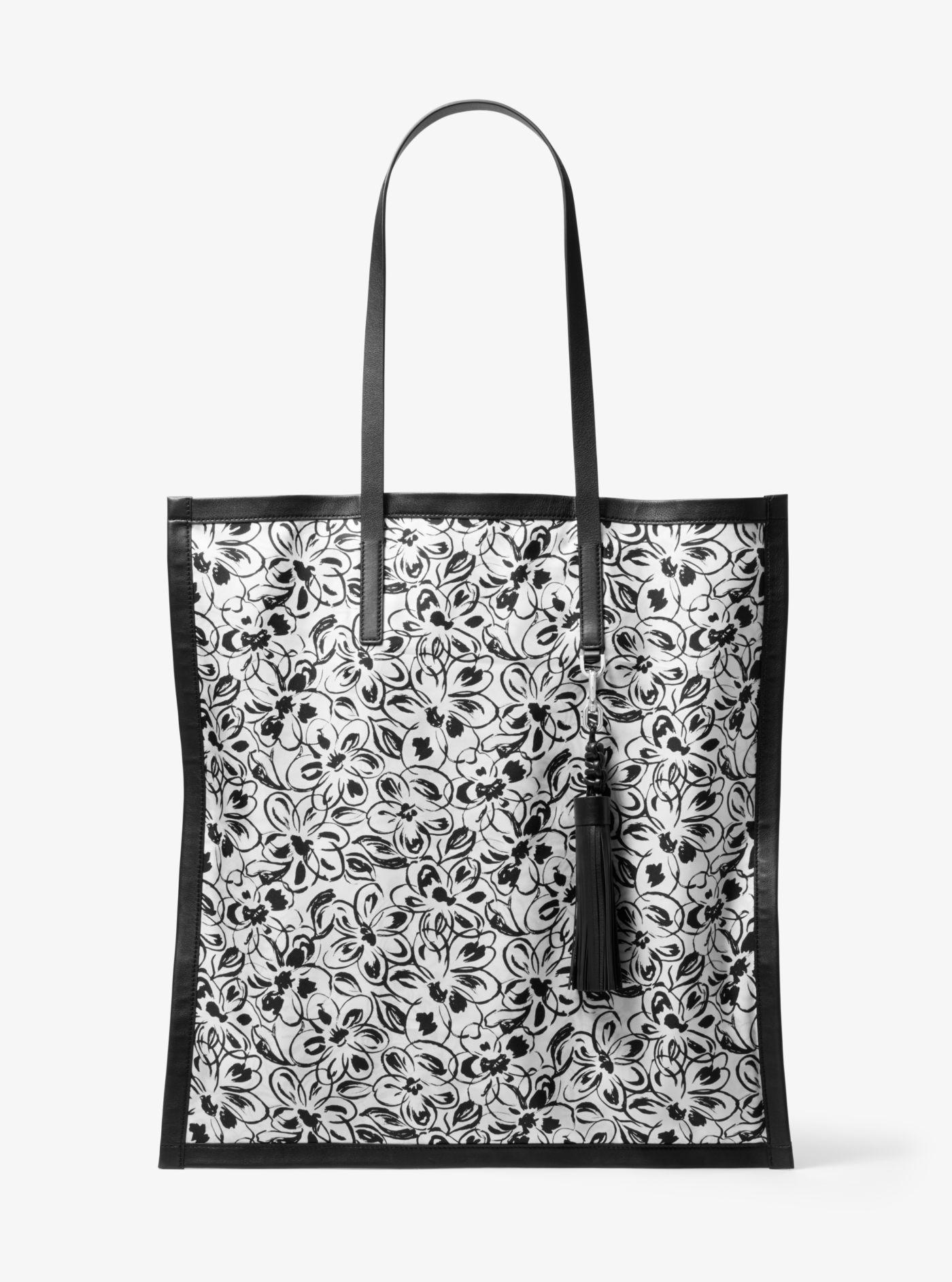2e2f7725e3df Lyst - Michael Kors Grimaldi Painterly Floral Silk Twill Scarf Tote ...