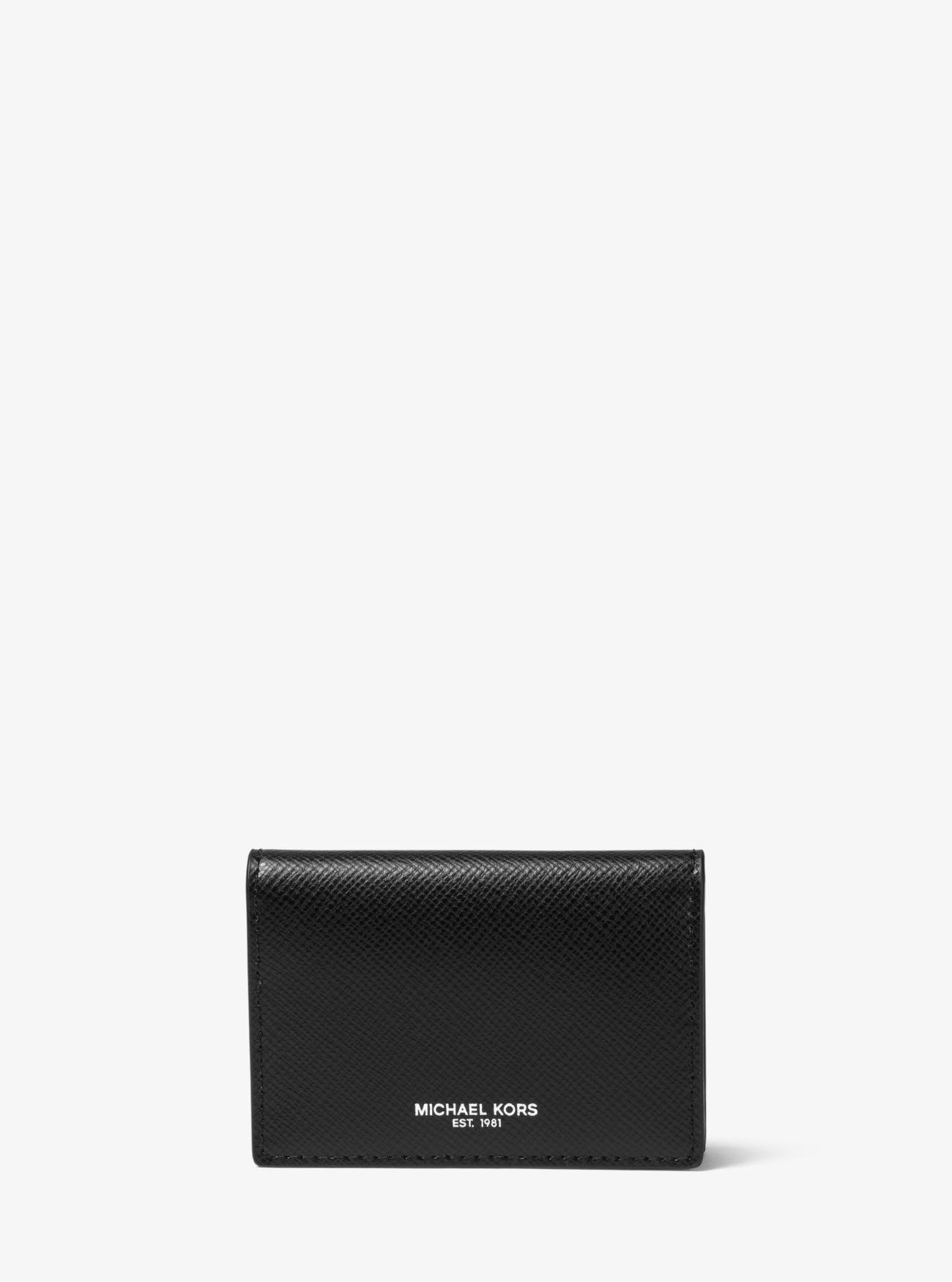 06f1e068d09b24 Lyst - Michael Kors Harrison Leather Card Holder in Black for Men