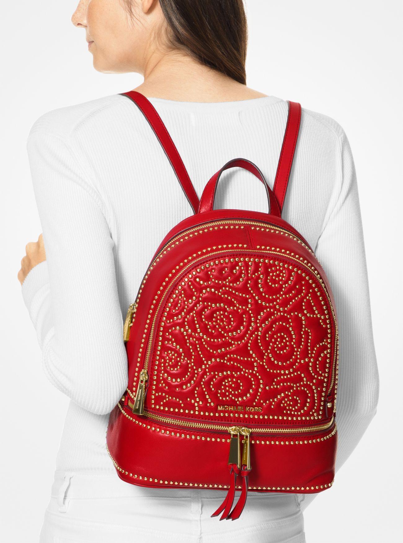 2b2badadbb22 Michael Kors Rhea Medium Rose Studded Leather Backpack in Red - Save ...
