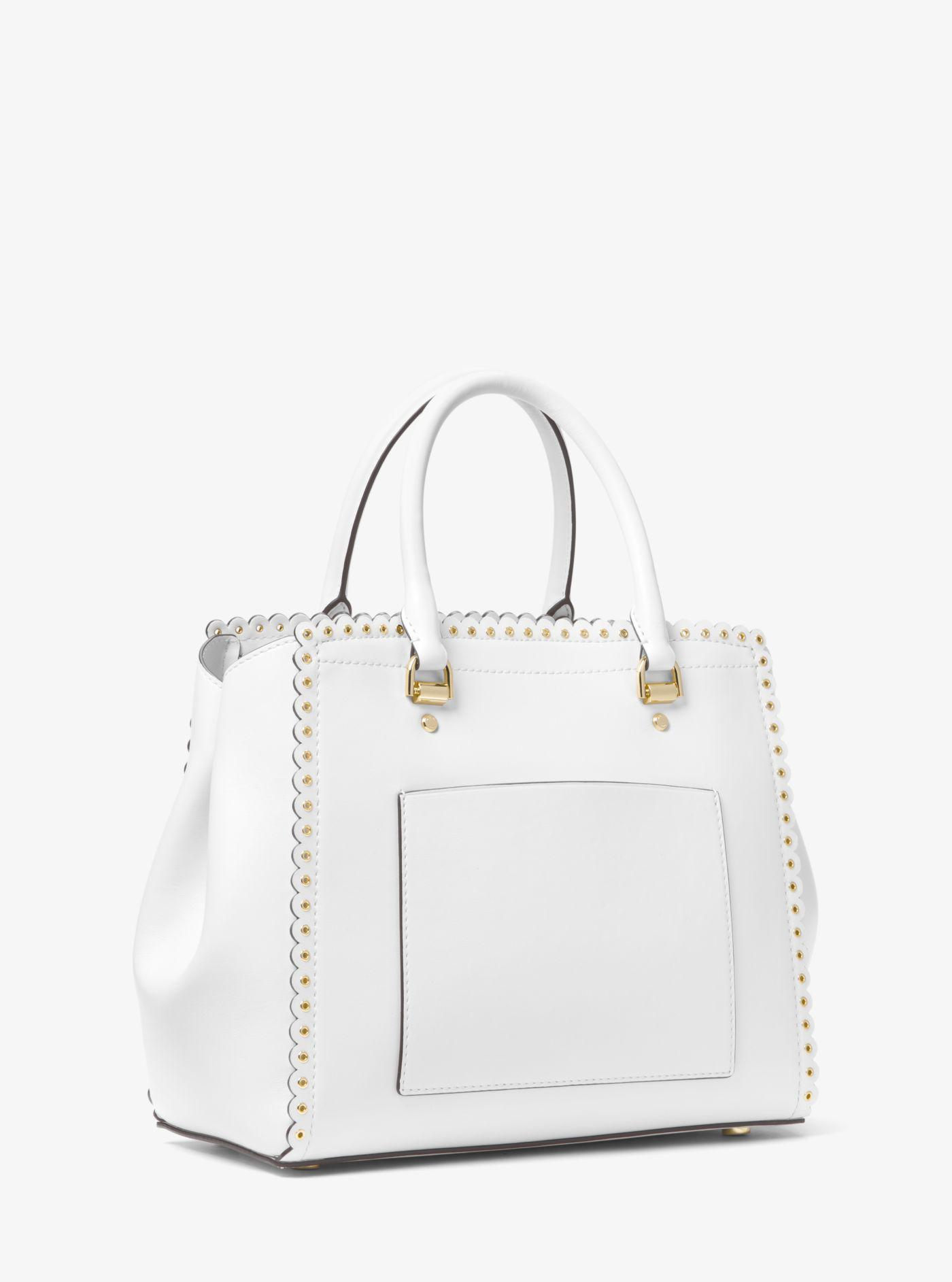 19e1fc0f74dc2 Michael Kors Benning Large Scalloped Leather Satchel in White - Lyst