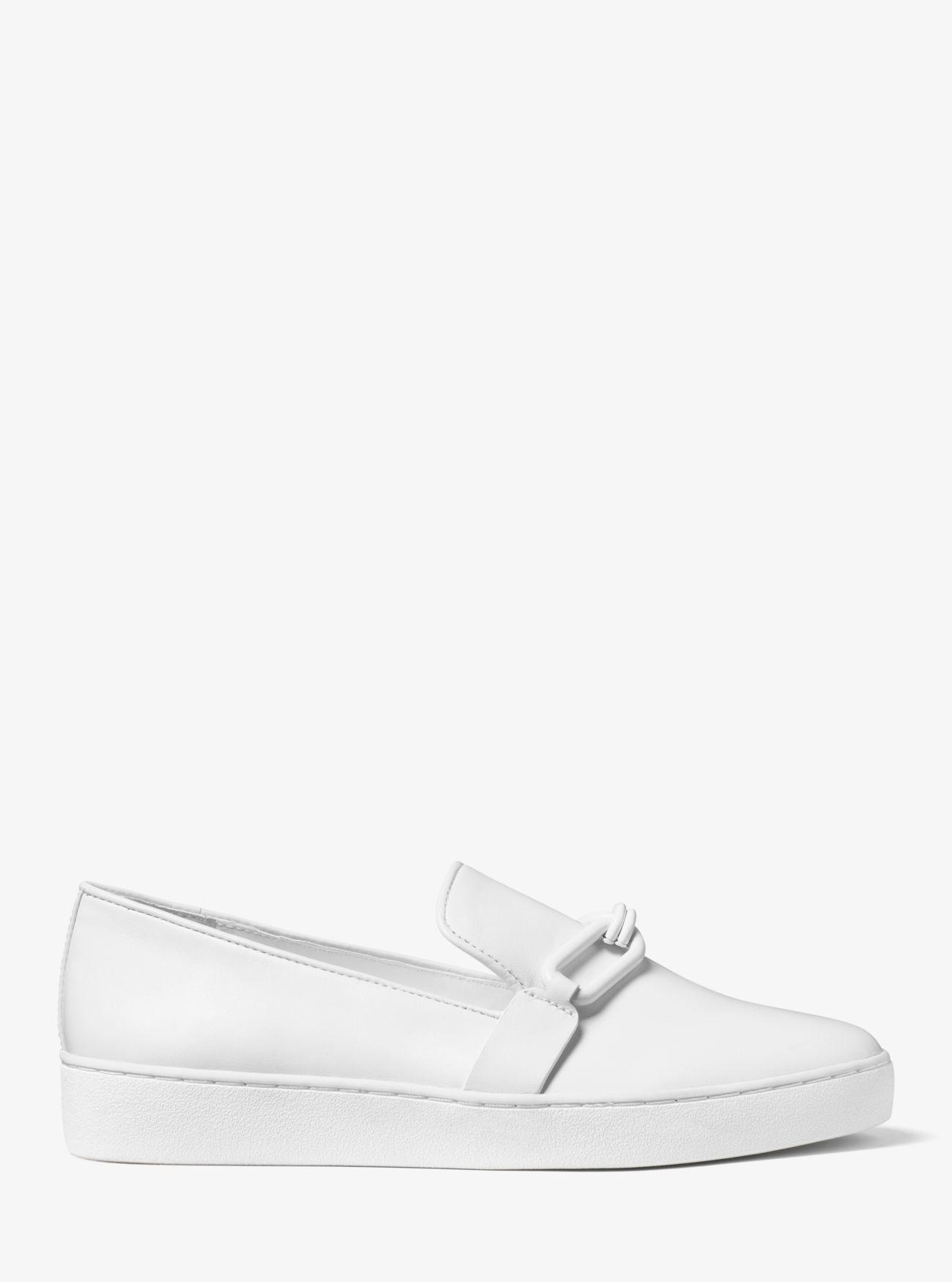 Michael Kors Collection Lennox Leather Slip-on Sneakers in White