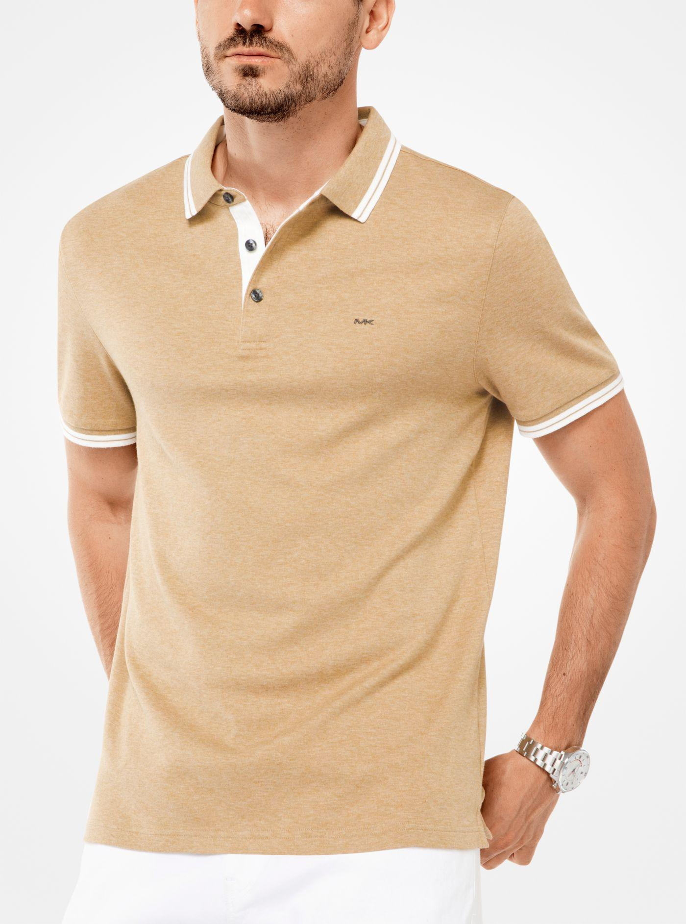 39c6ea7432e8eb Michael Kors Greenwich Cotton Polo Shirt in Natural for Men - Lyst