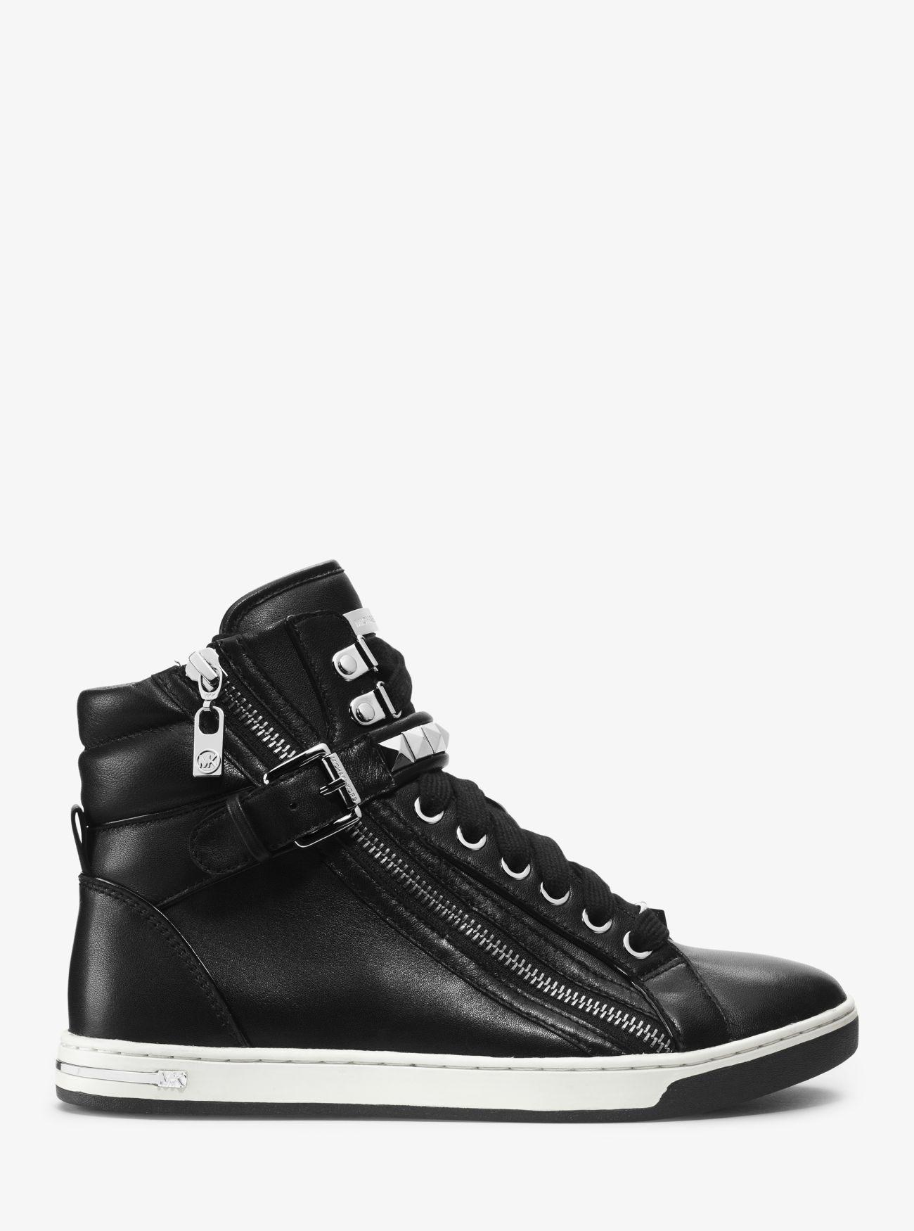 Michael Kors Glam Studded Patent-leather High-top Sneaker in Black