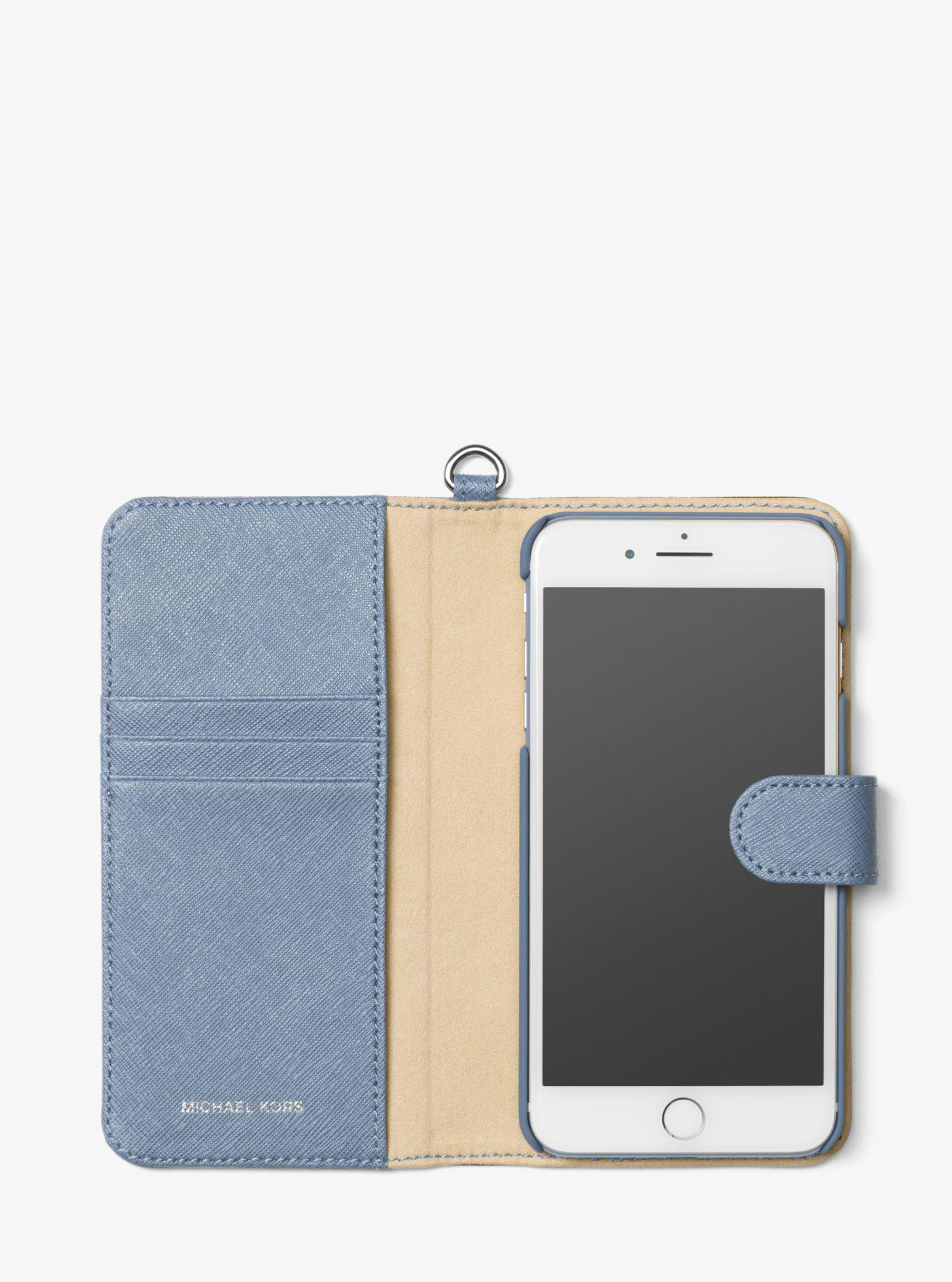 Saffiano Leather Folio Phone Case For Iphone7/8 Plus
