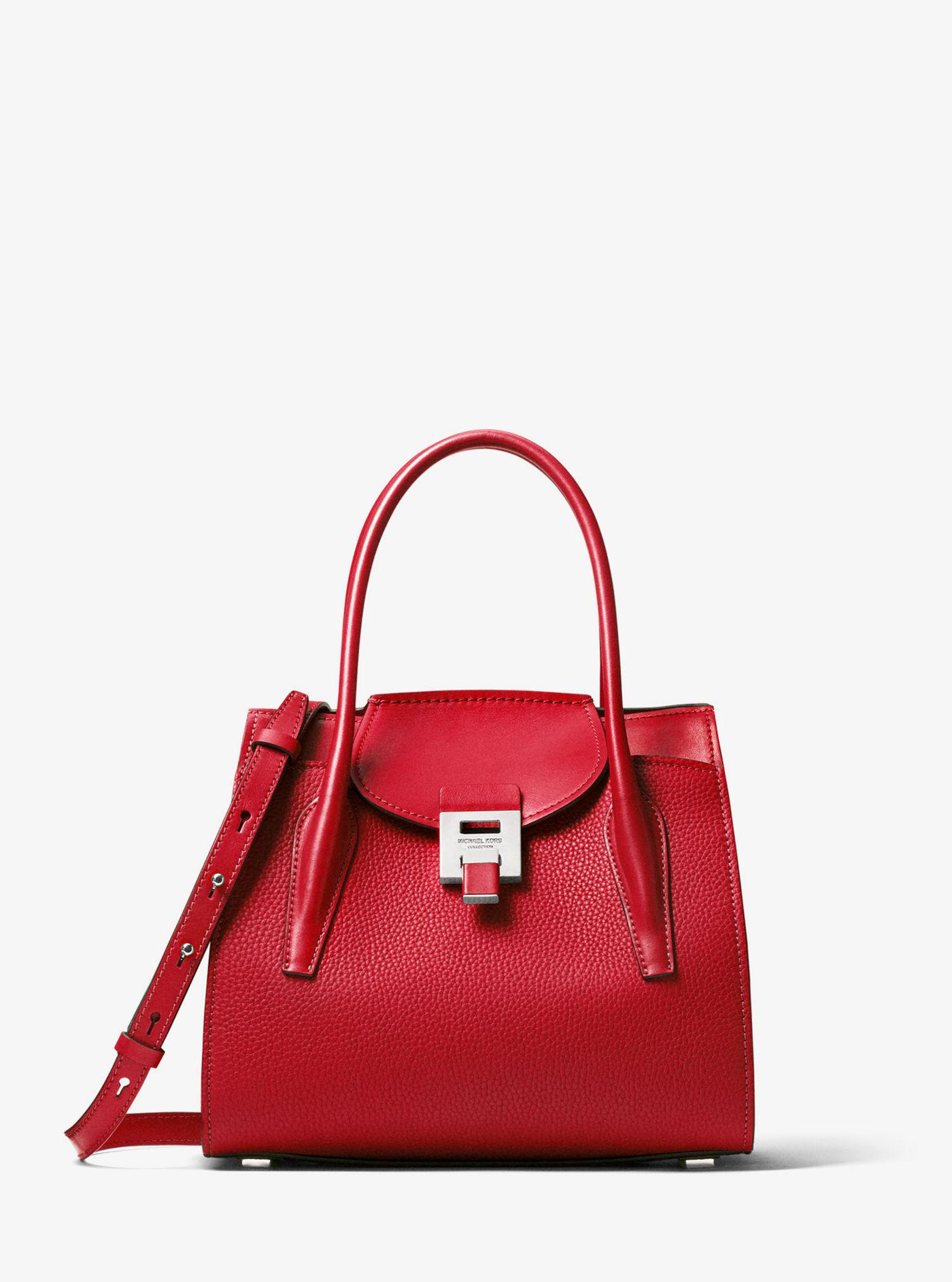 de0df4d0ef2ad Michael Kors Bancroft Medium Pebbled Calf Leather Satchel in Red - Lyst