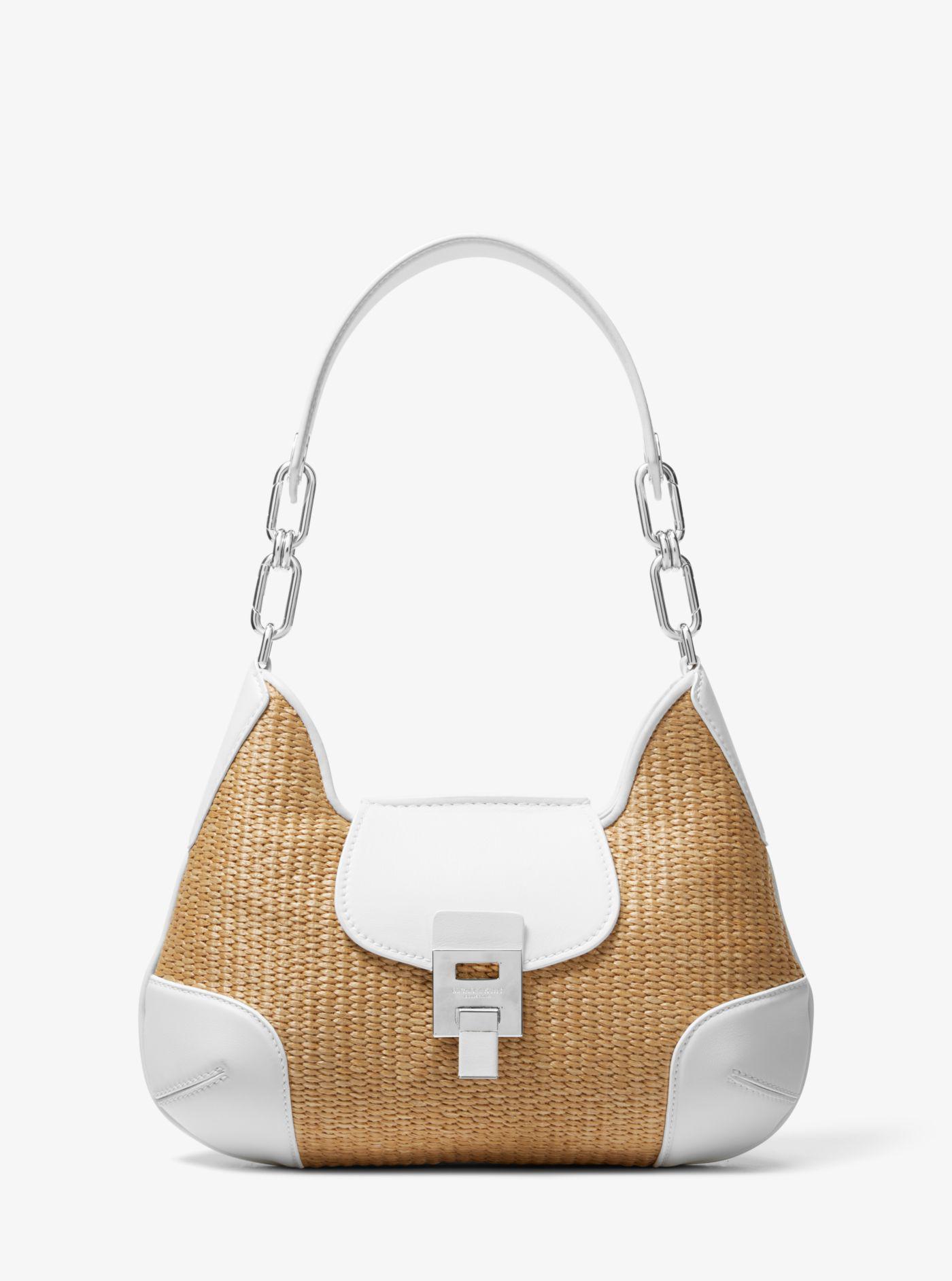 04a63a318a3b7 Lyst - Michael Kors Bancroft Medium Raffia Shoulder Bag in White