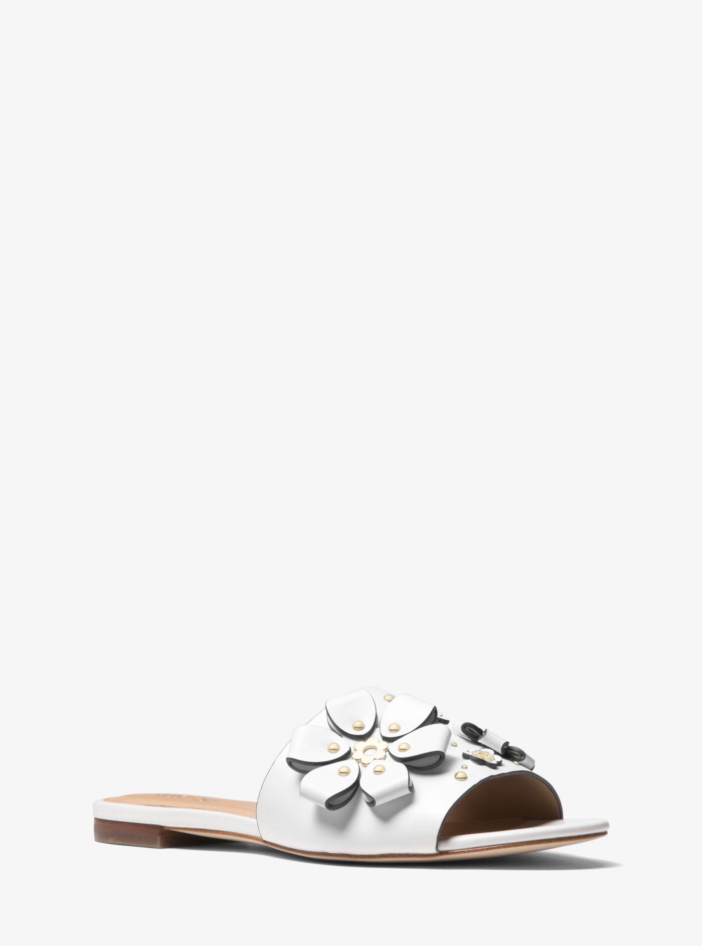 912d303290f Lyst - Michael Kors Tara Floral Embellished Leather Slide in White