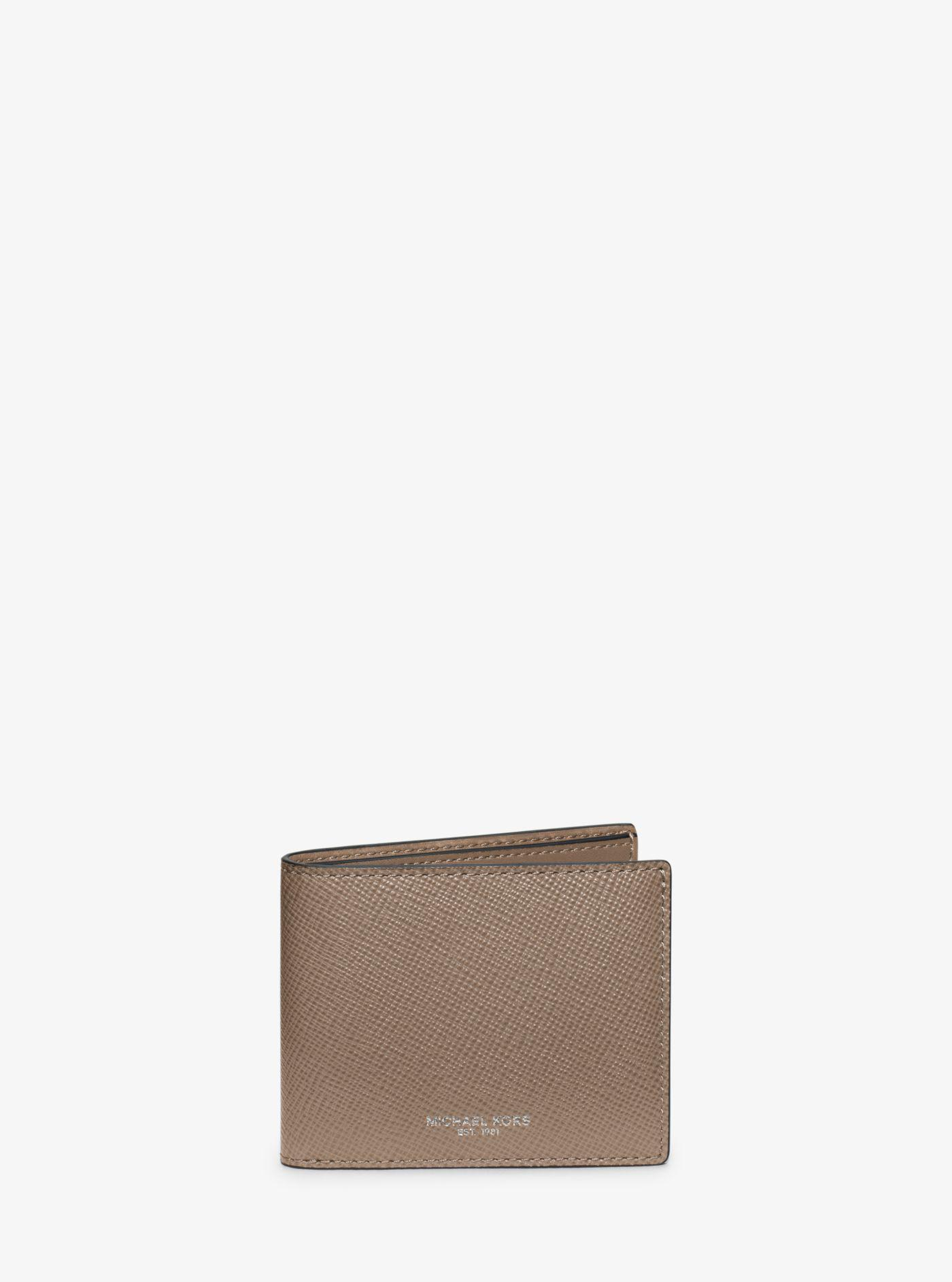 43ad6ab3b9eb Lyst - Michael Kors Harrison Leather Slim Billfold Wallet in Gray ...