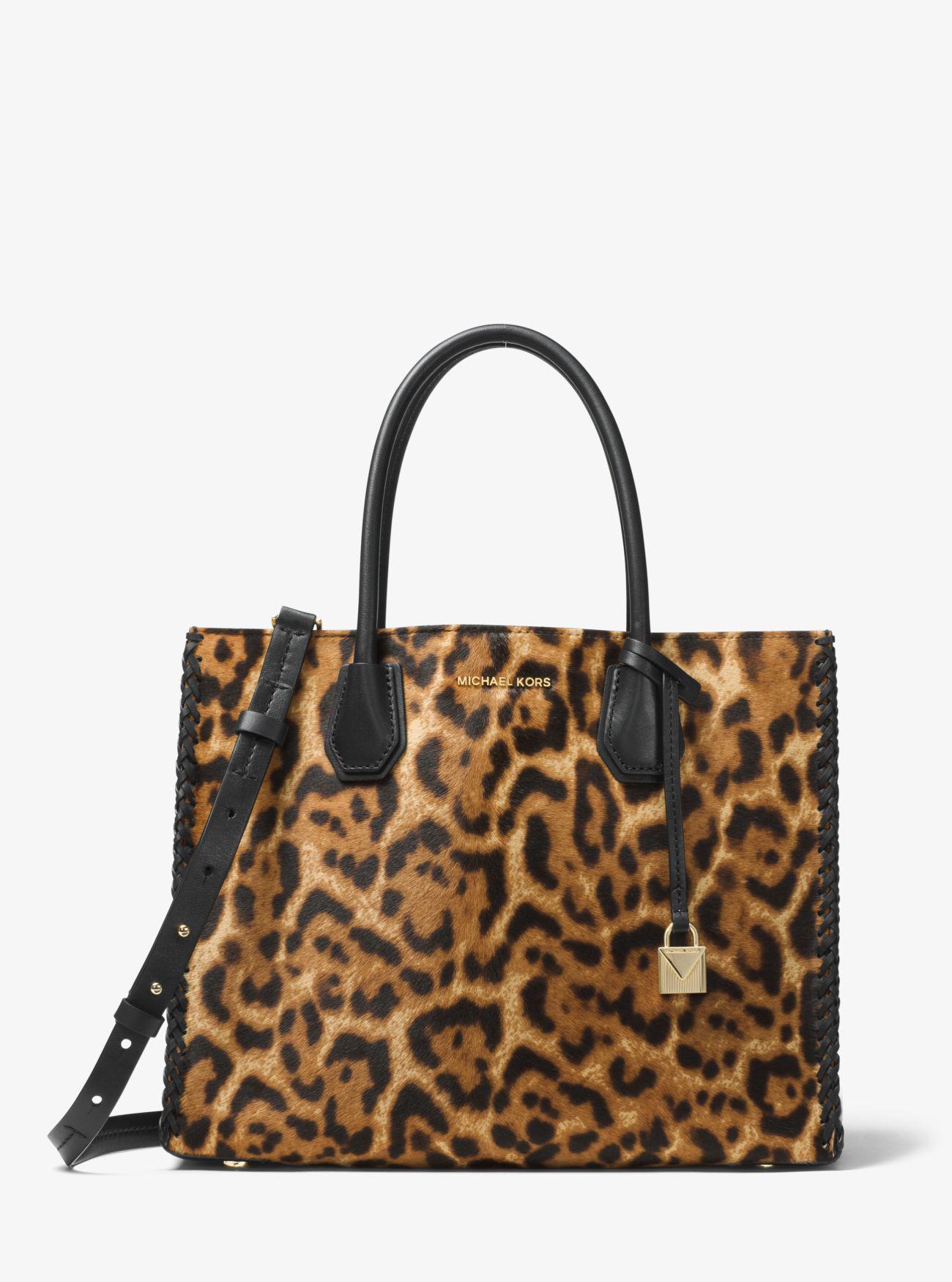 2635c8549d4a Michael Kors Mercer Leopard Calf Hair Tote in Brown - Lyst