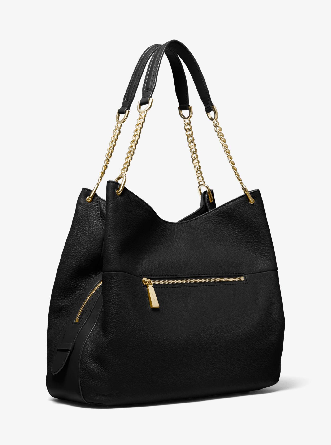 Grand sac porté épaule Lillie en cuir grainé