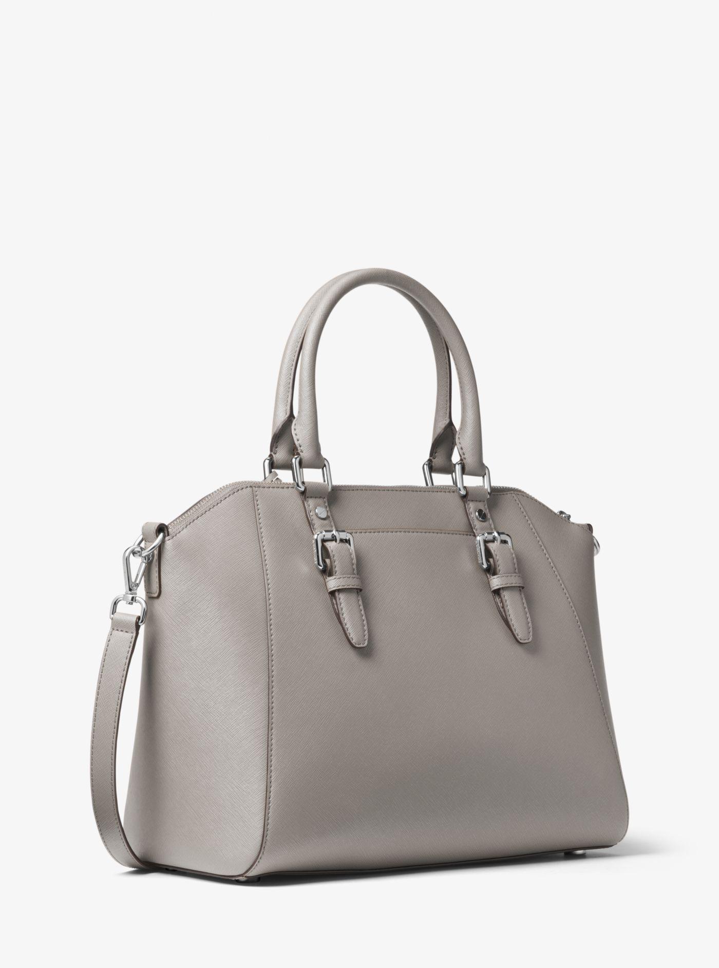 58f53f431ec68 Lyst - Michael Kors Ciara Large Saffiano Leather Satchel in Gray
