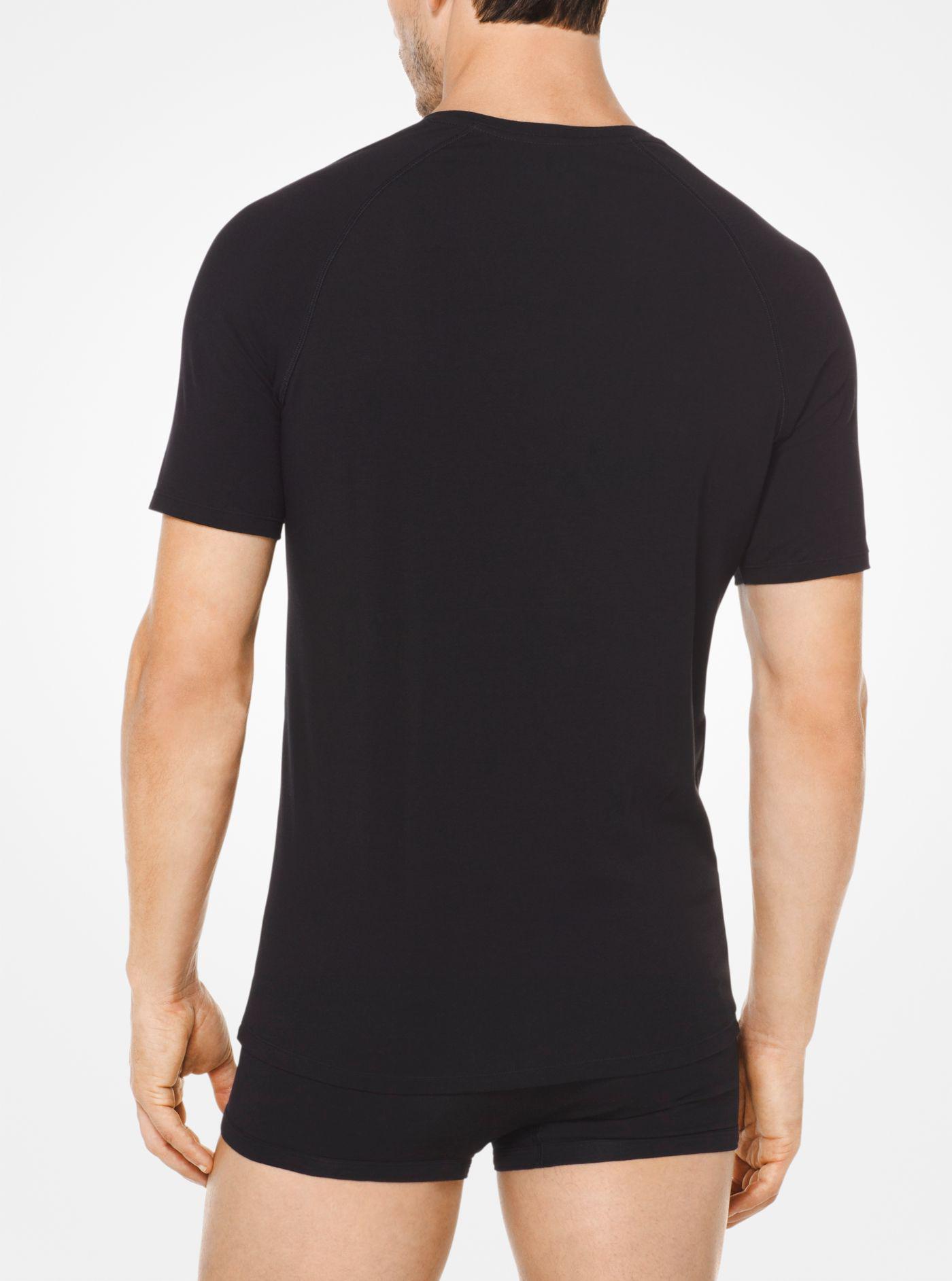 b6303432d9 Lyst - Michael Kors 2-pk. Stretch Factor V-neck Undershirts in Black ...