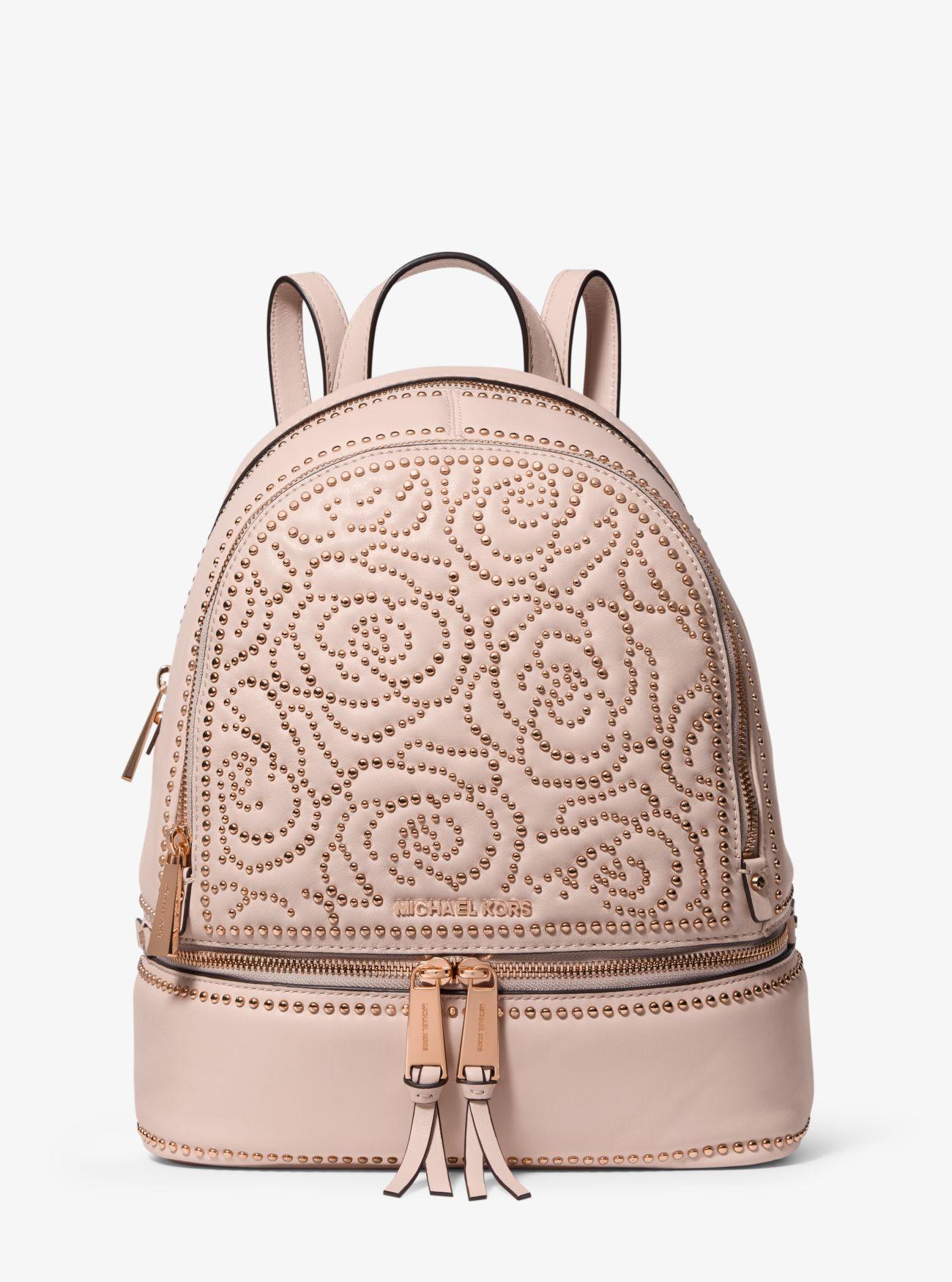 f8998c4b8507 Michael Kors - Pink Rhea Medium Rose Studded Leather Backpack - Lyst. View  fullscreen