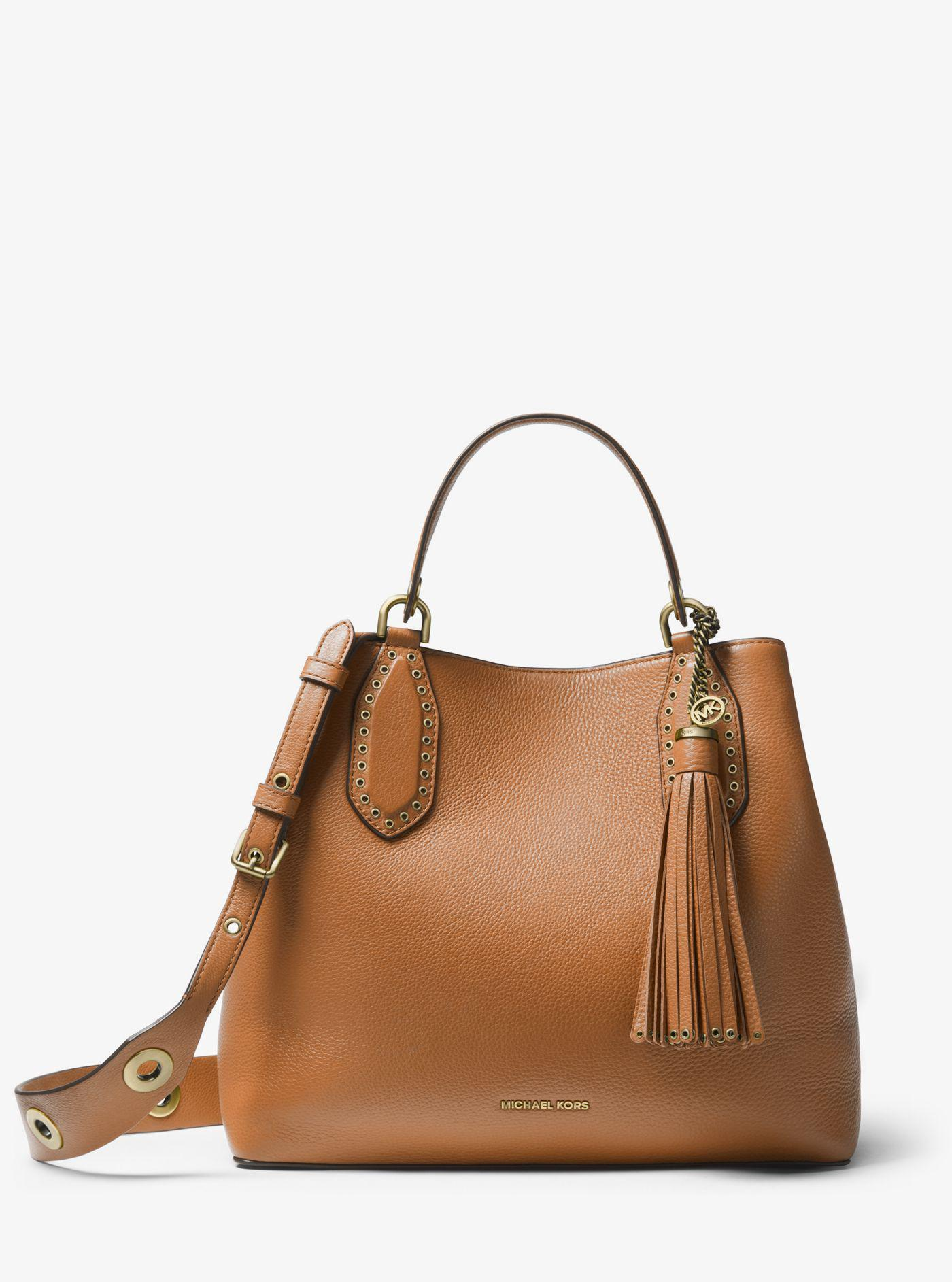 4f20cfb4d6e47 Lyst - Michael Kors Brooklyn Large Pebbled Leather Satchel in Brown