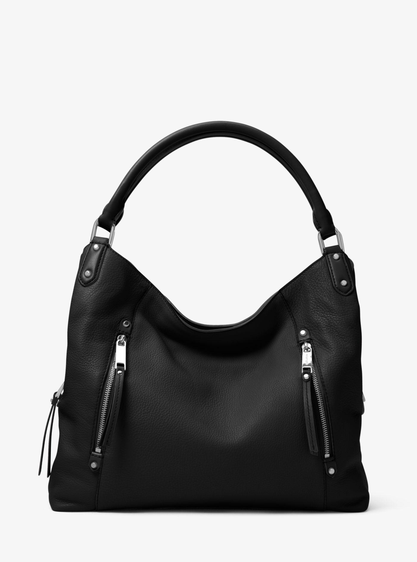 833fe6ca3e43 ... shopping lyst michael kors evie large leather shoulder bag in black  2a4ca 3ac44