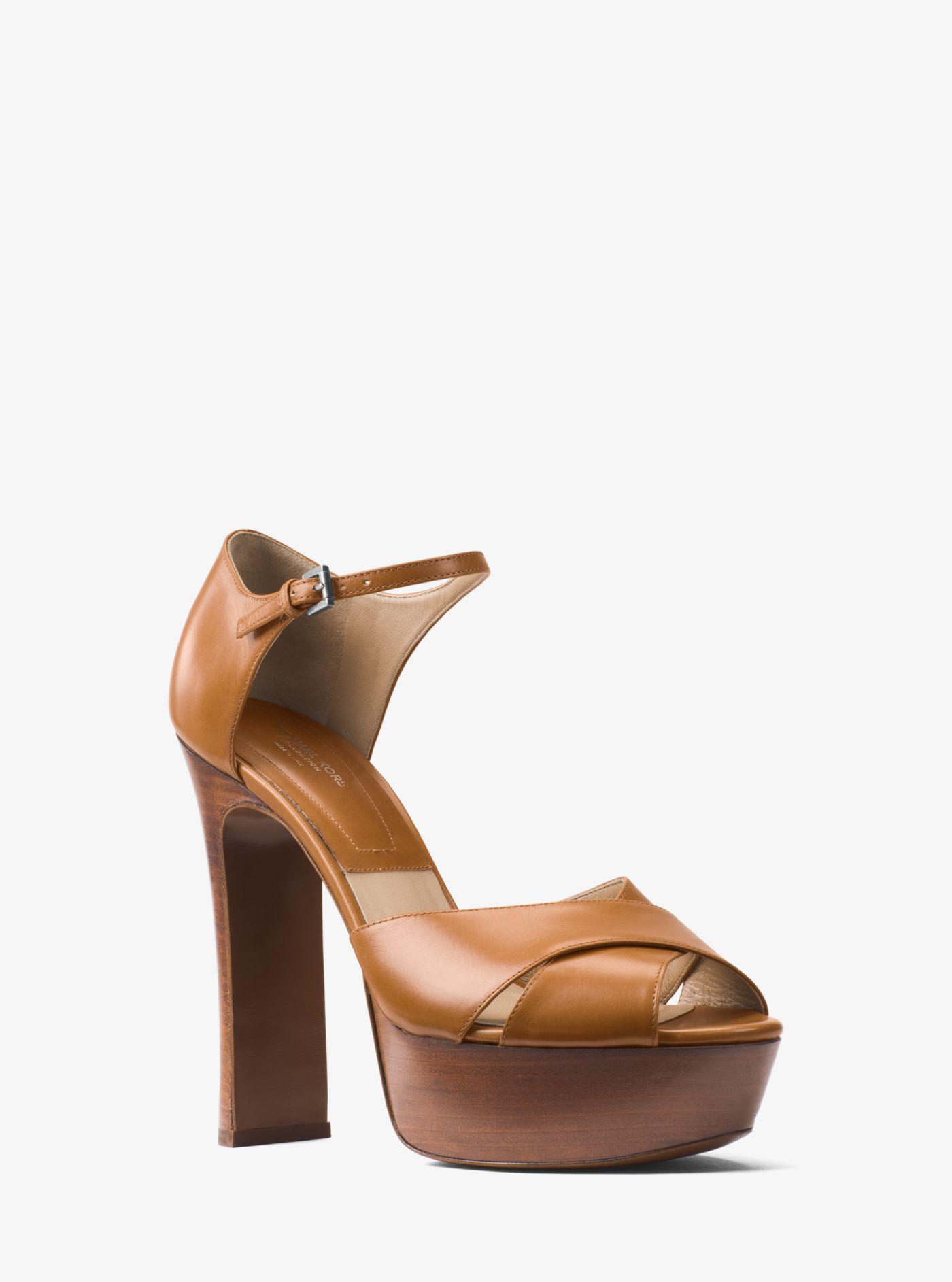 172cf6d3917e Michael Kors Huxley Leather Platform Sandal in Brown - Lyst
