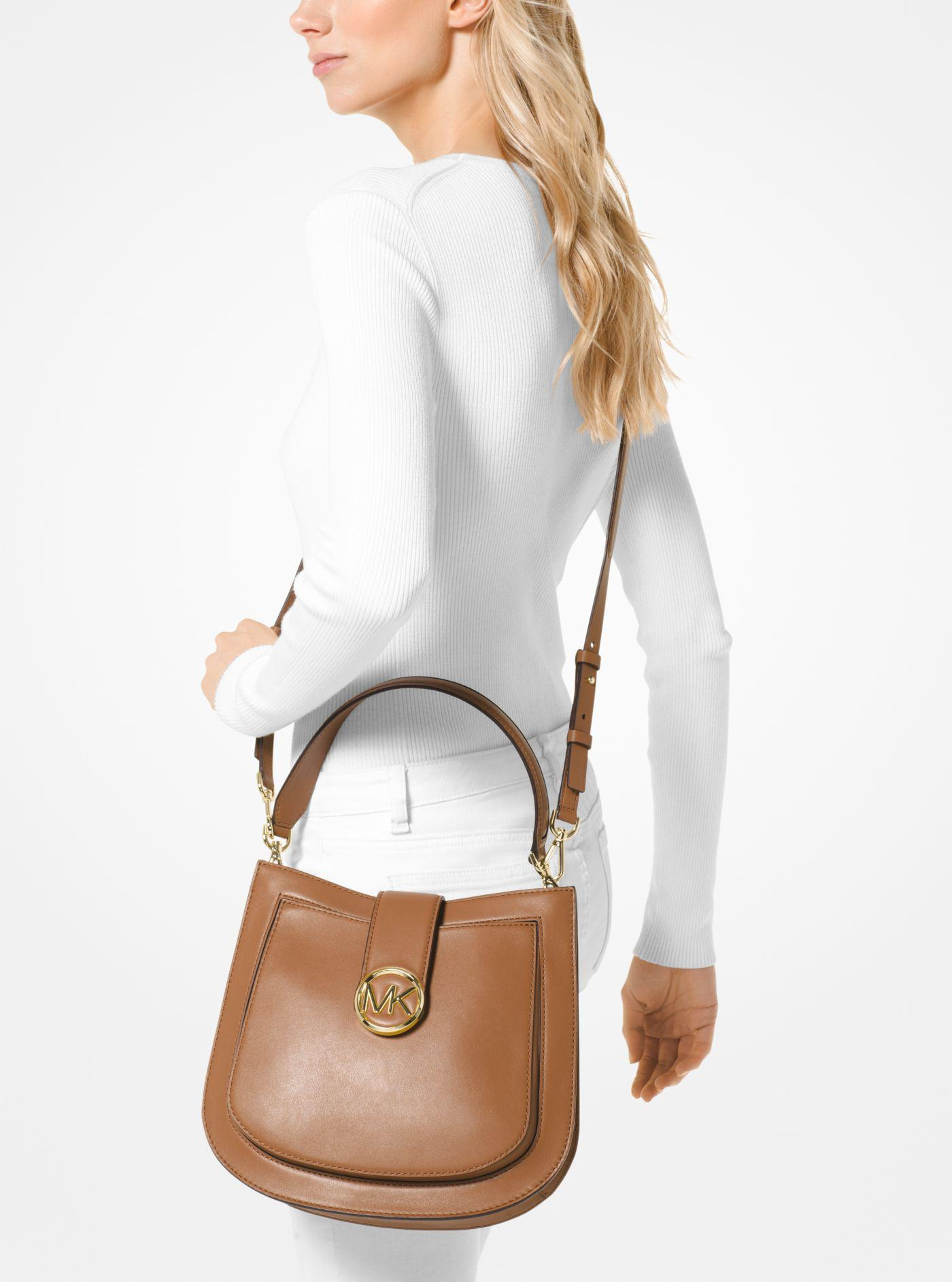 252b9c7bc91a Lyst - Michael Kors Lillie Medium Leather Shoulder Bag in Brown