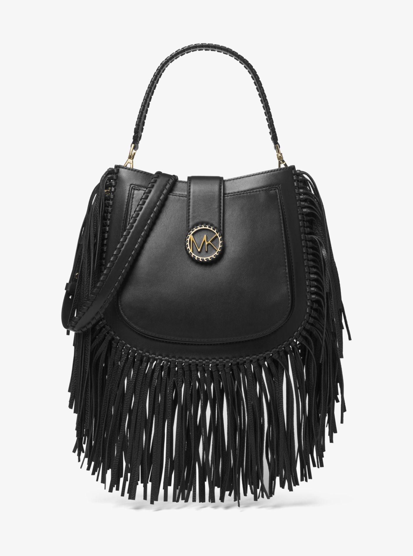 3c69e383d5dcc2 ... czech lyst michael kors lillie medium fringed leather shoulder bag in  black 70356 e8254