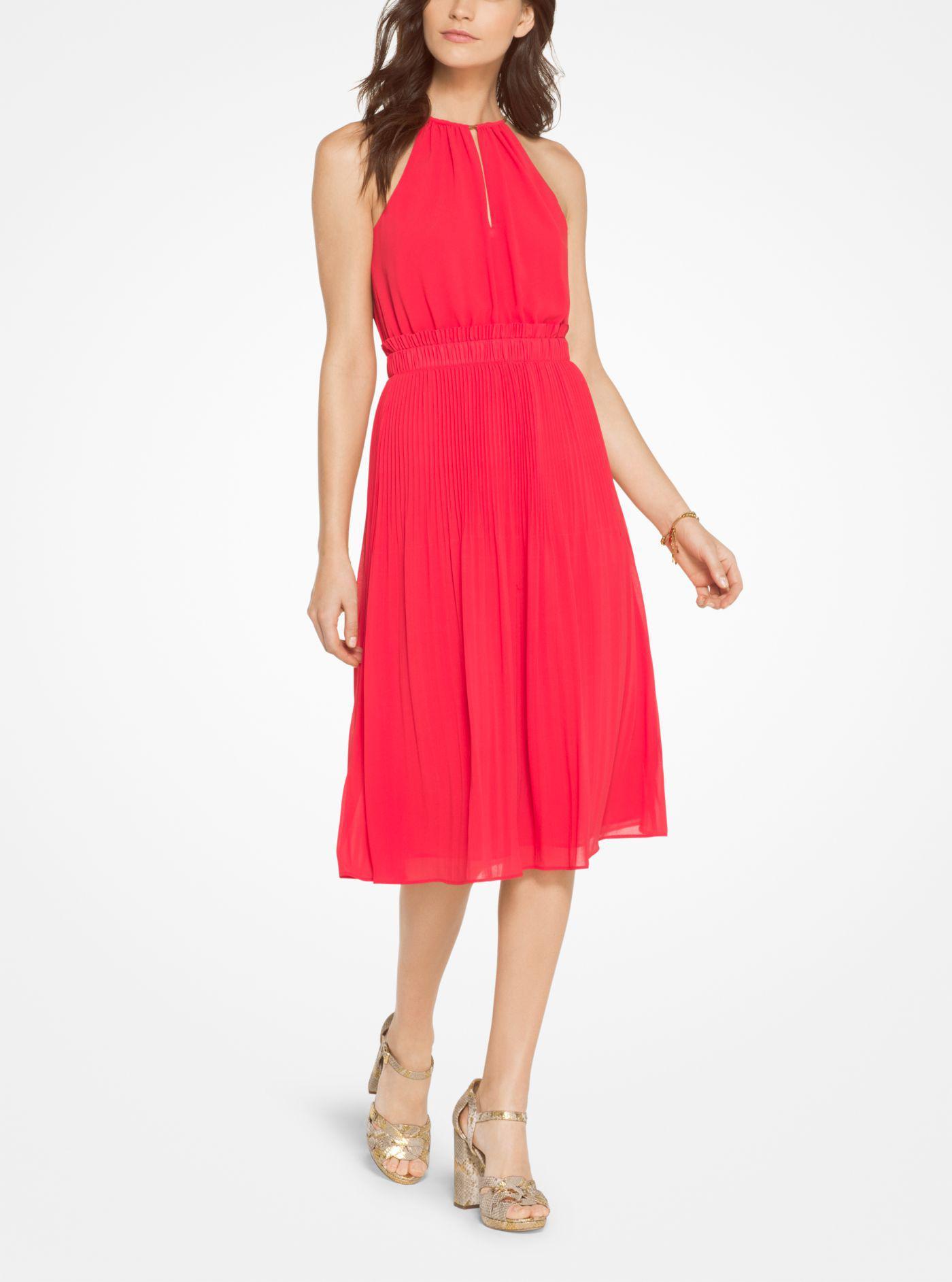 749998909b Lyst - Michael Kors Georgette Pleated Halter Dress in Red